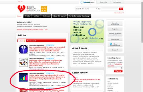 Min artikel på Cardiovascular Diabetologys hemsida :)
