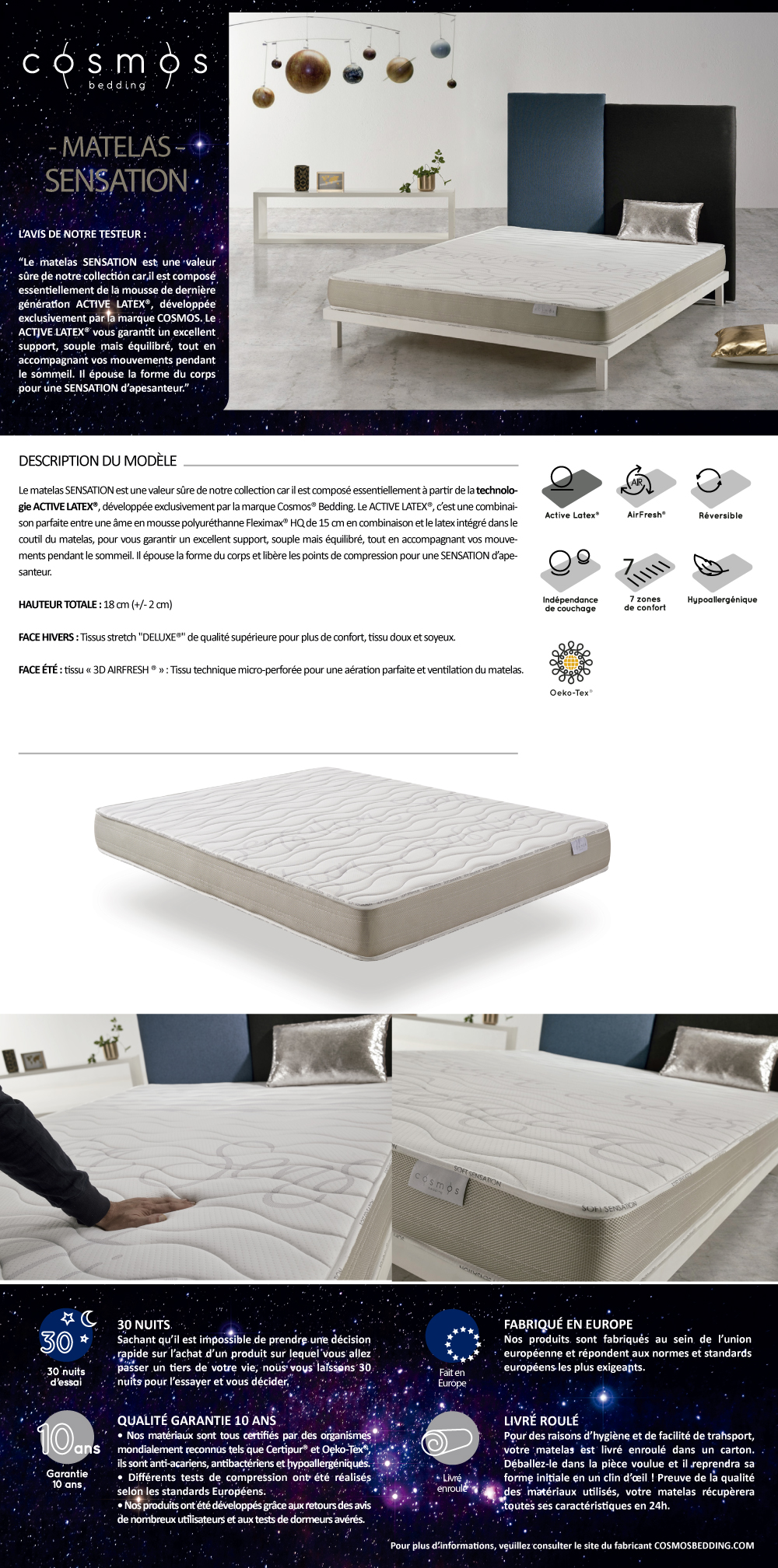 Densité Matelas Latex Matelas Sensation 140x190 Cm En Mousse Hr Active Latex Triple Densité Reversible à 7 Zones