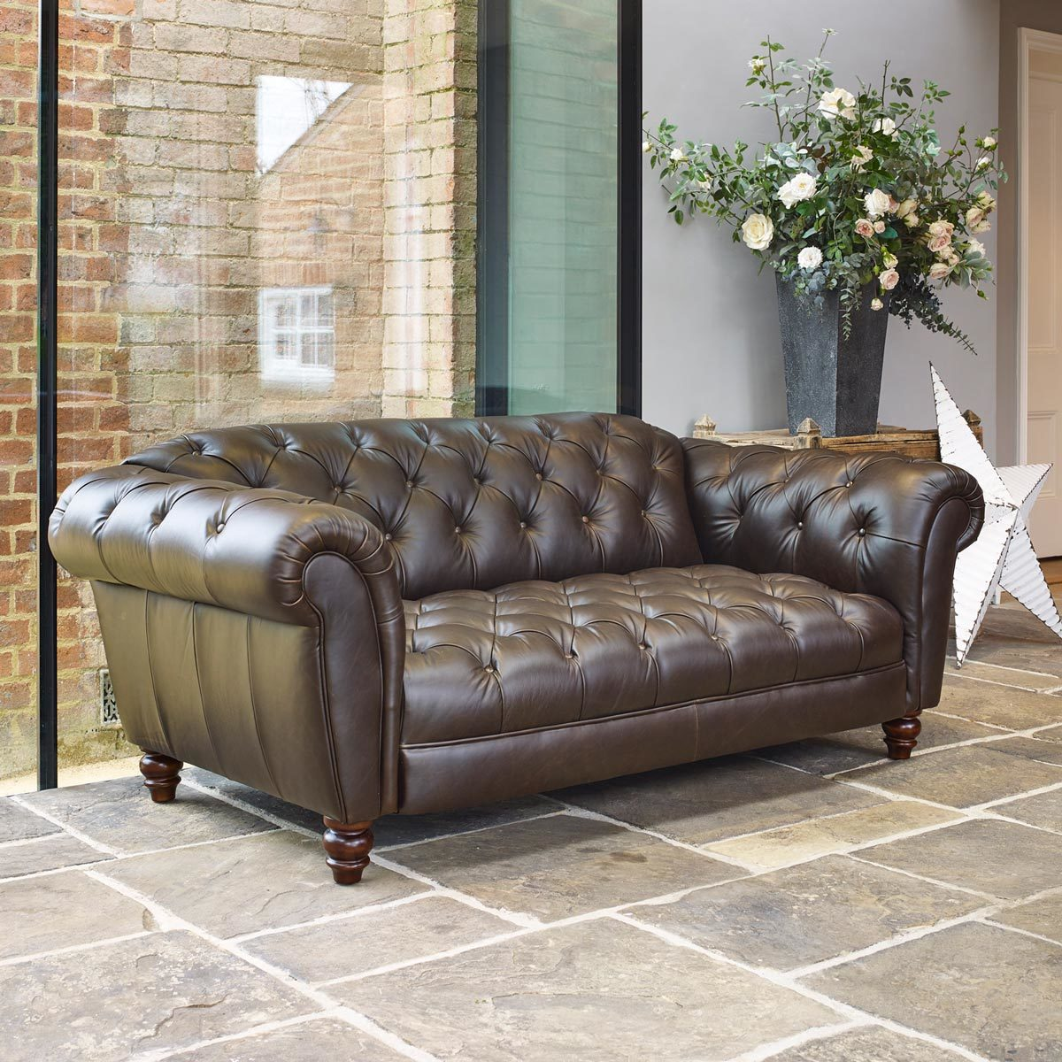 Chesterfield Sofa Online Uk Wellington 2 Seater Semi Aniline Leather Chesterfield Sofa Chocolate Costco Uk