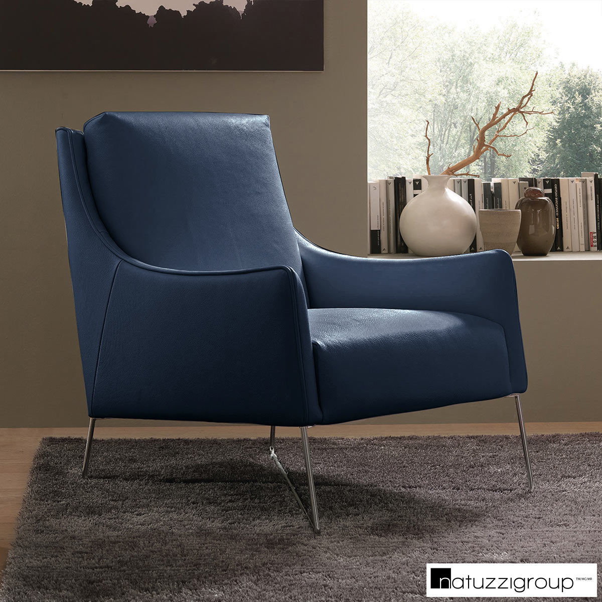 Accent Chairs At Costco Natuzzi Navy Top Grain Leather Accent Chair Costco Uk