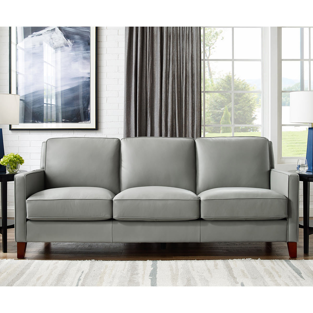 West Park 3 Seater Light Grey Leather Sofa Costco Uk