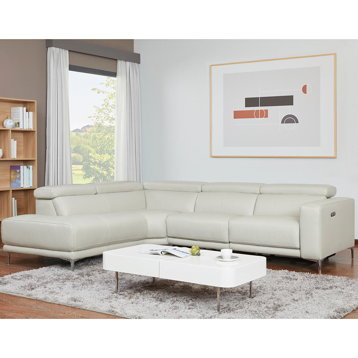 Kuka Redland Grey Leather Power Reclining Sectional Sofa Costco Uk
