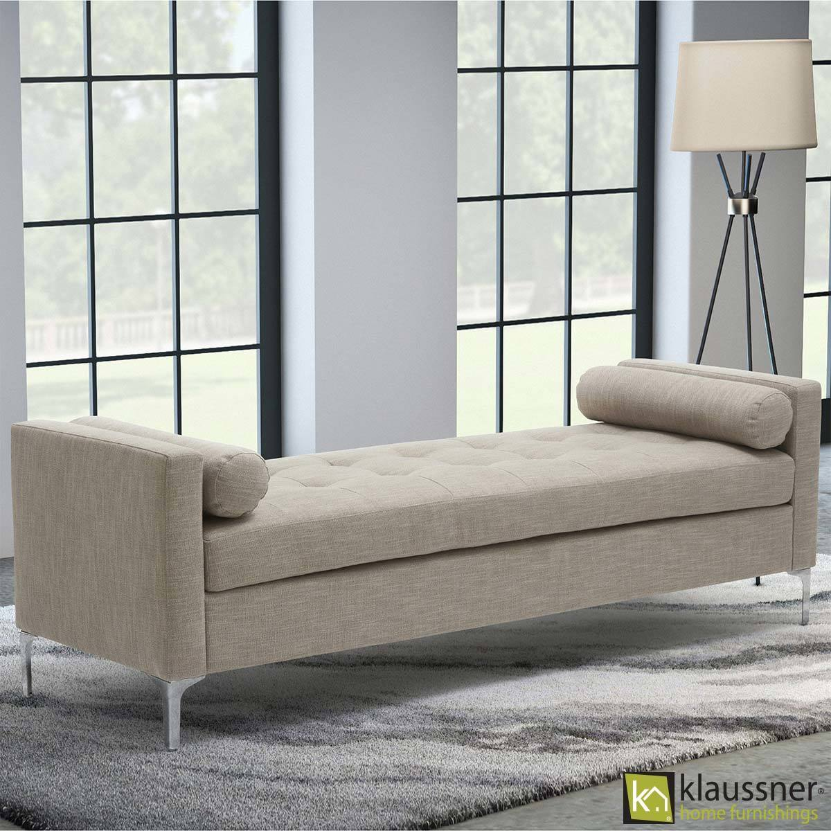 Accent Chairs At Costco Klaussner Tufted Fabric Bench With 2 Accent Pillows Costco Uk