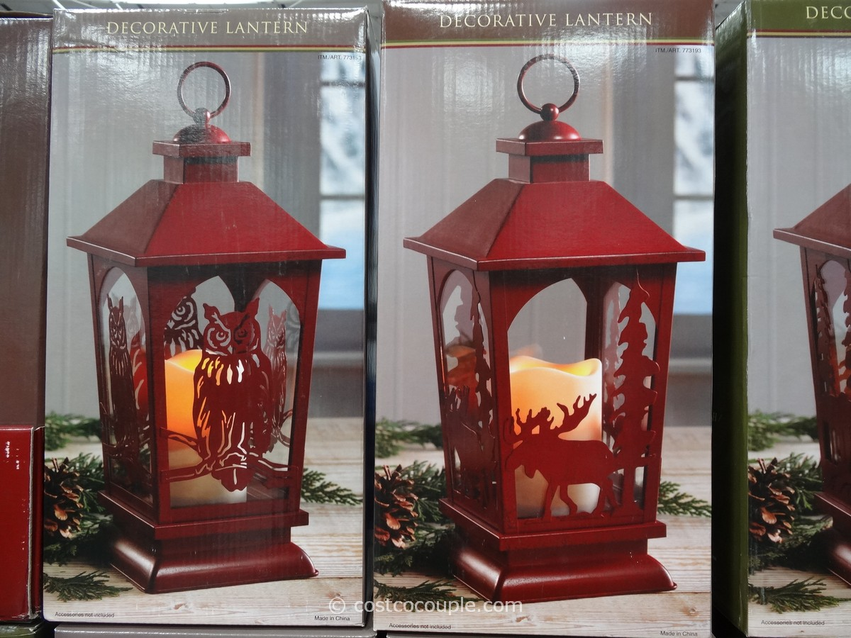 Gas Grill Decorative Lantern With Flickering Led Candle