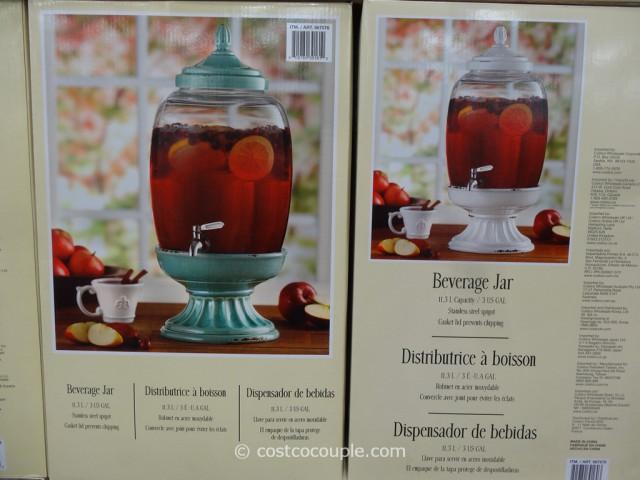 Glass Beverage Jar With Ceramic Base