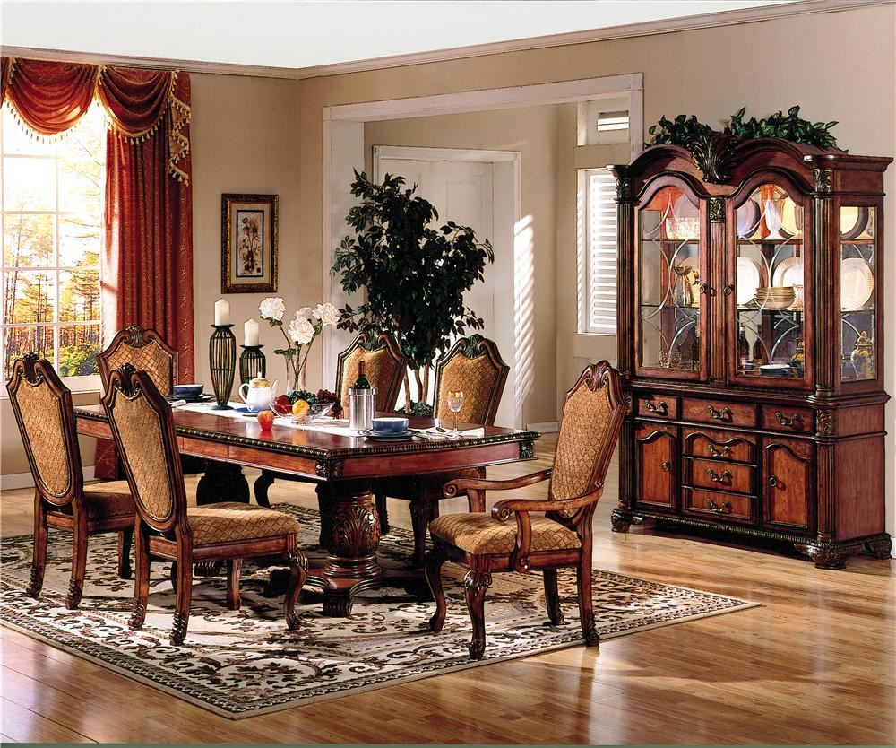 Dining Room Furniture Buffet Chateau De Ville 7 Piece Formal Dining Set With Fabric Upholstered Chairs Buffet And Hutch
