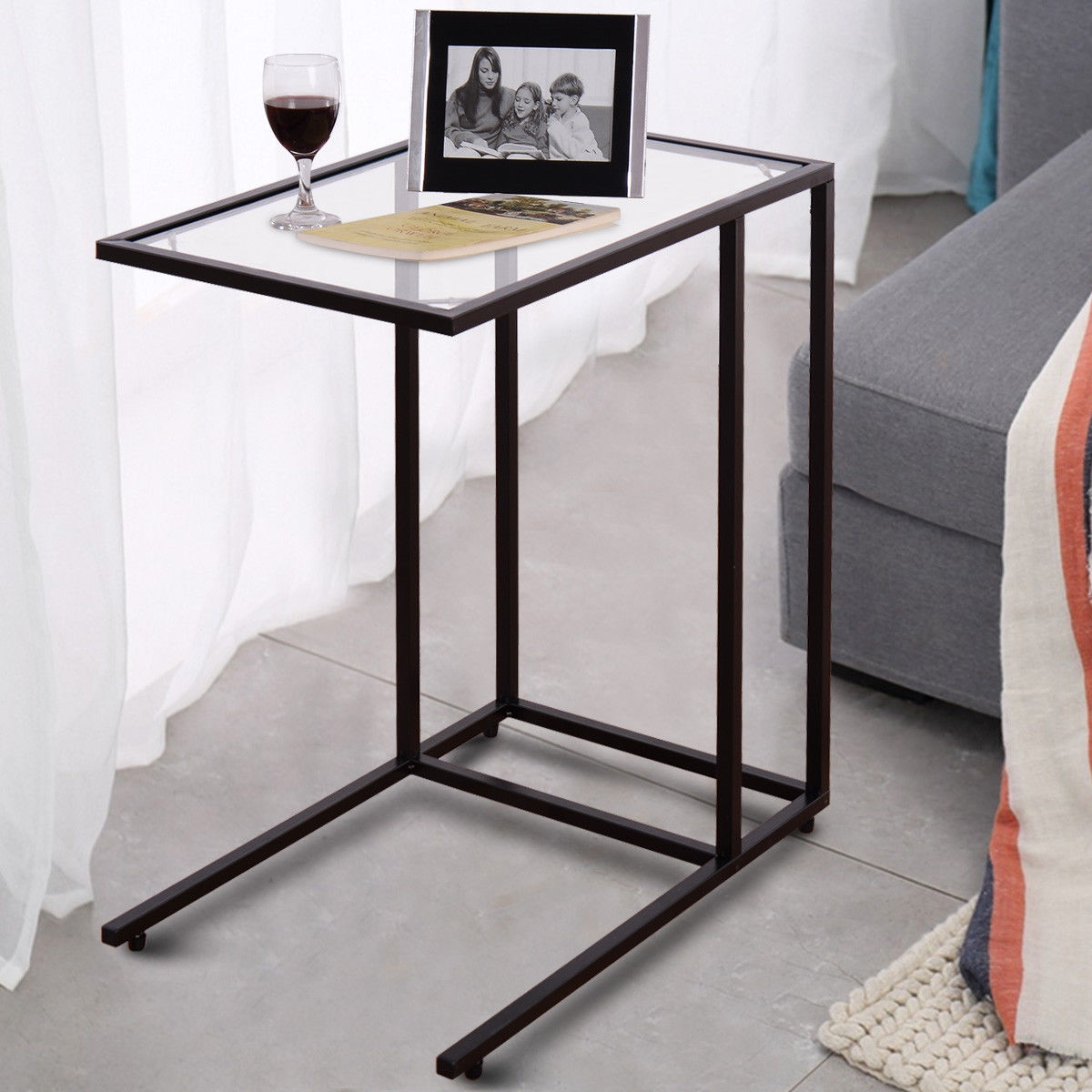 Settee End Table Sofa End Table Coffee Side Table With Glass Top