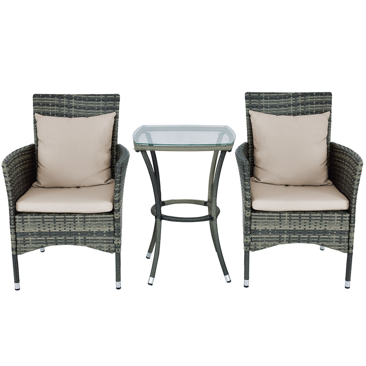 Rattan Chairs 3 Pcs Patio Rattan Chairs And Table Set With Cushions
