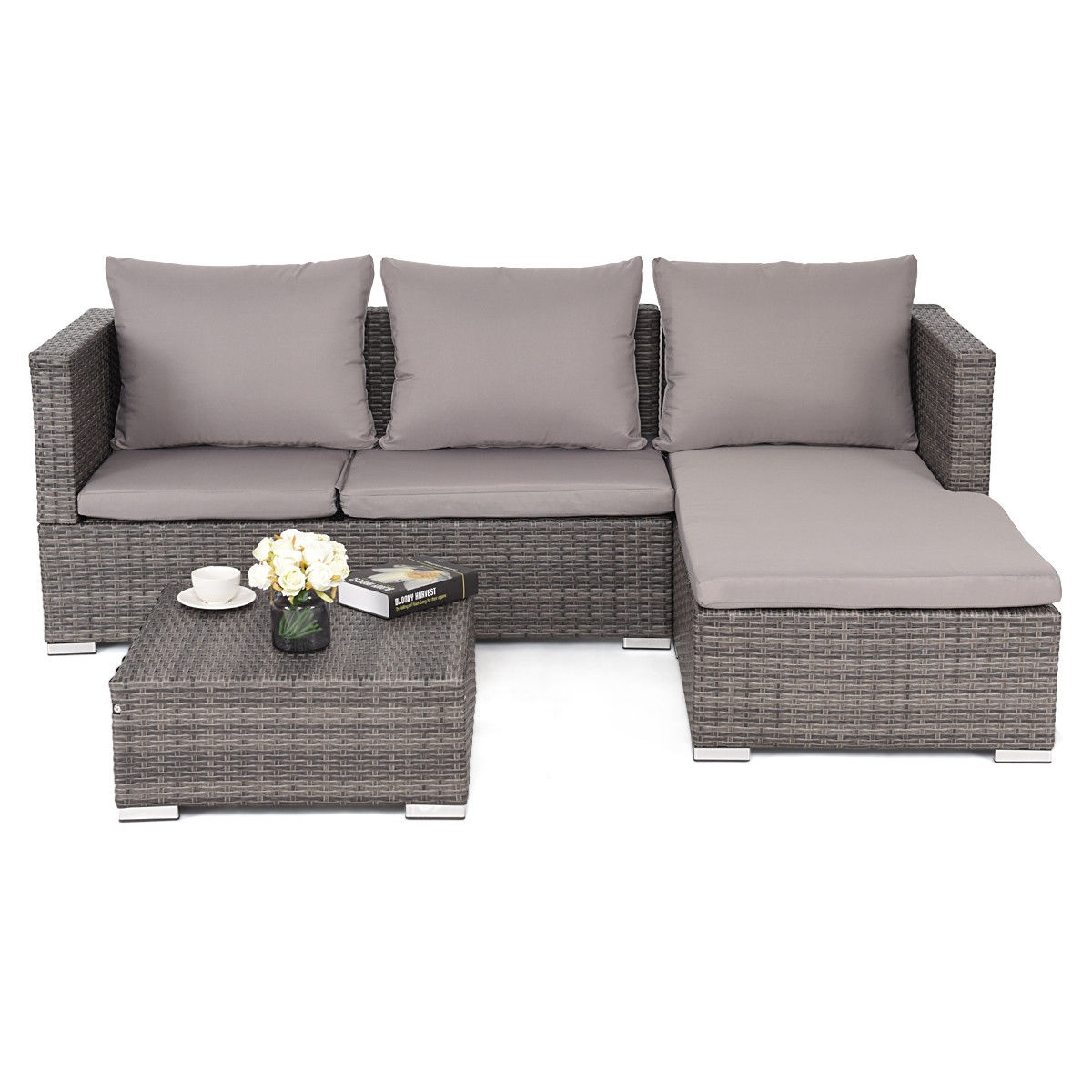 Rattan Sofa 3 Pcs Steel Frame Adjustable Seat Rattan Wicker Sofa Furniture Set