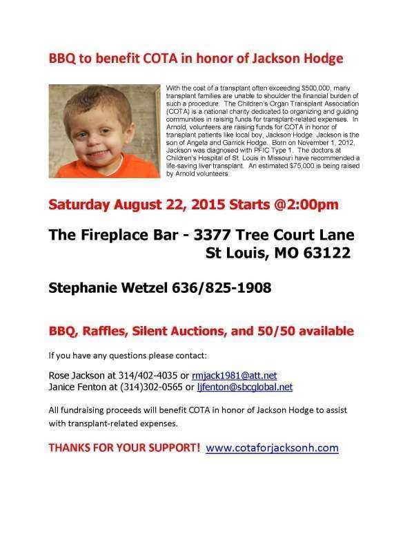 Children\u0027s Organ Transplant Association \u003e COTA for Jackson H \u003e Blog - bbq benefit flyers