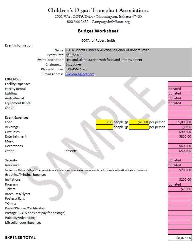 Budget Worksheets and Samples Children\u0027s Organ Transplant Association