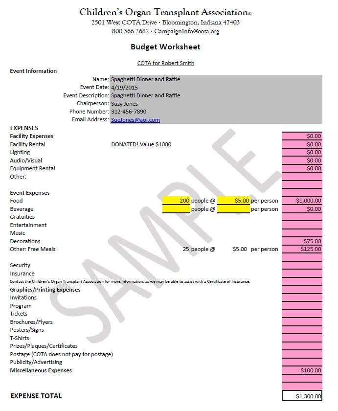 Sample budget Dinner and Auction