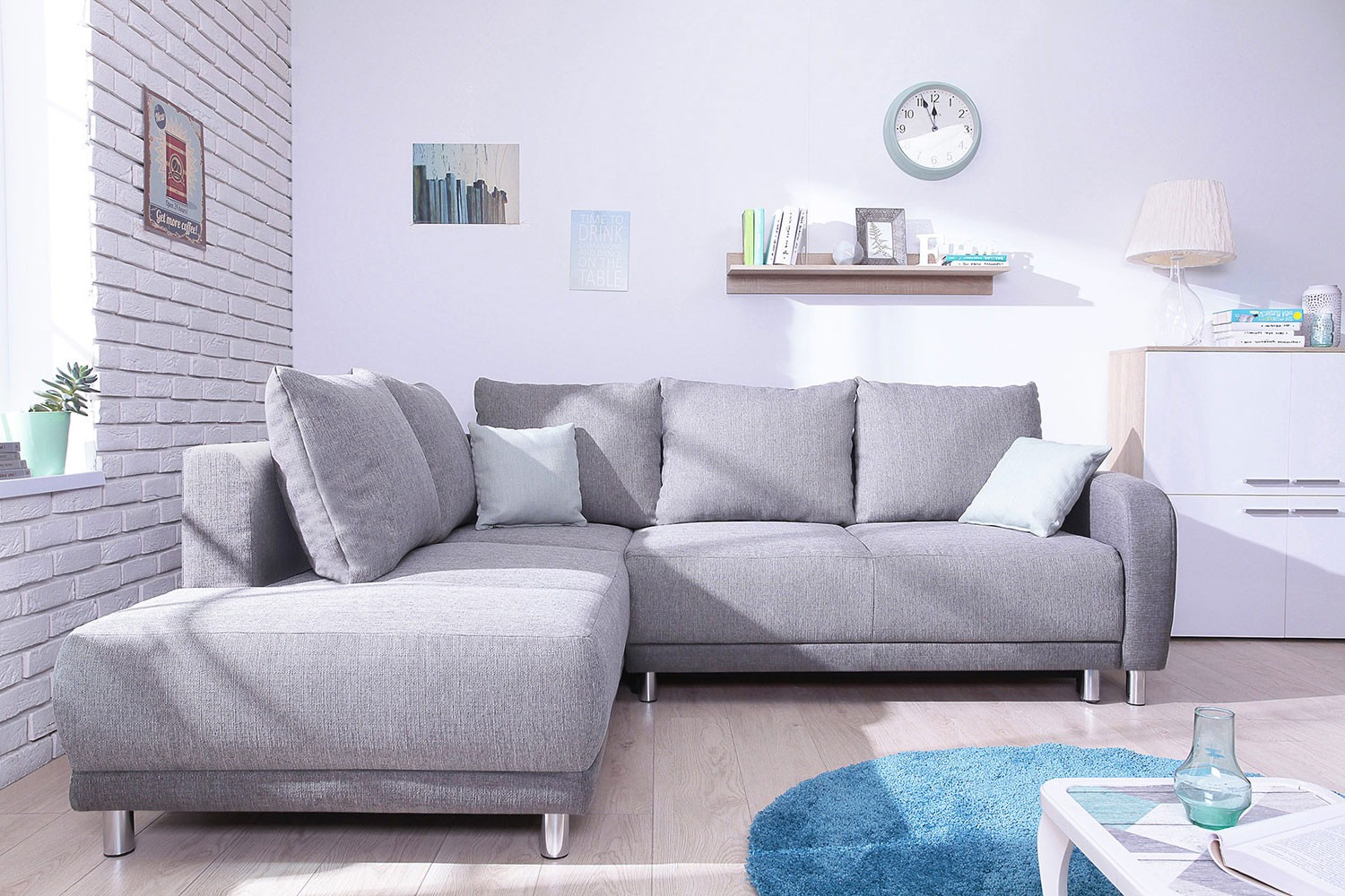 Canape Gris Angle Minty Grand Angle Gauche Canapé Convertible Scandinave Bobochic Bicolore Gris Clair