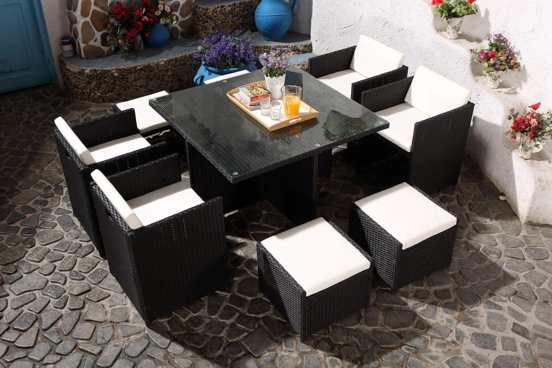 Salon De Jardin Table 8 Fauteuils En Resine Tressee Luxe | Spa ...