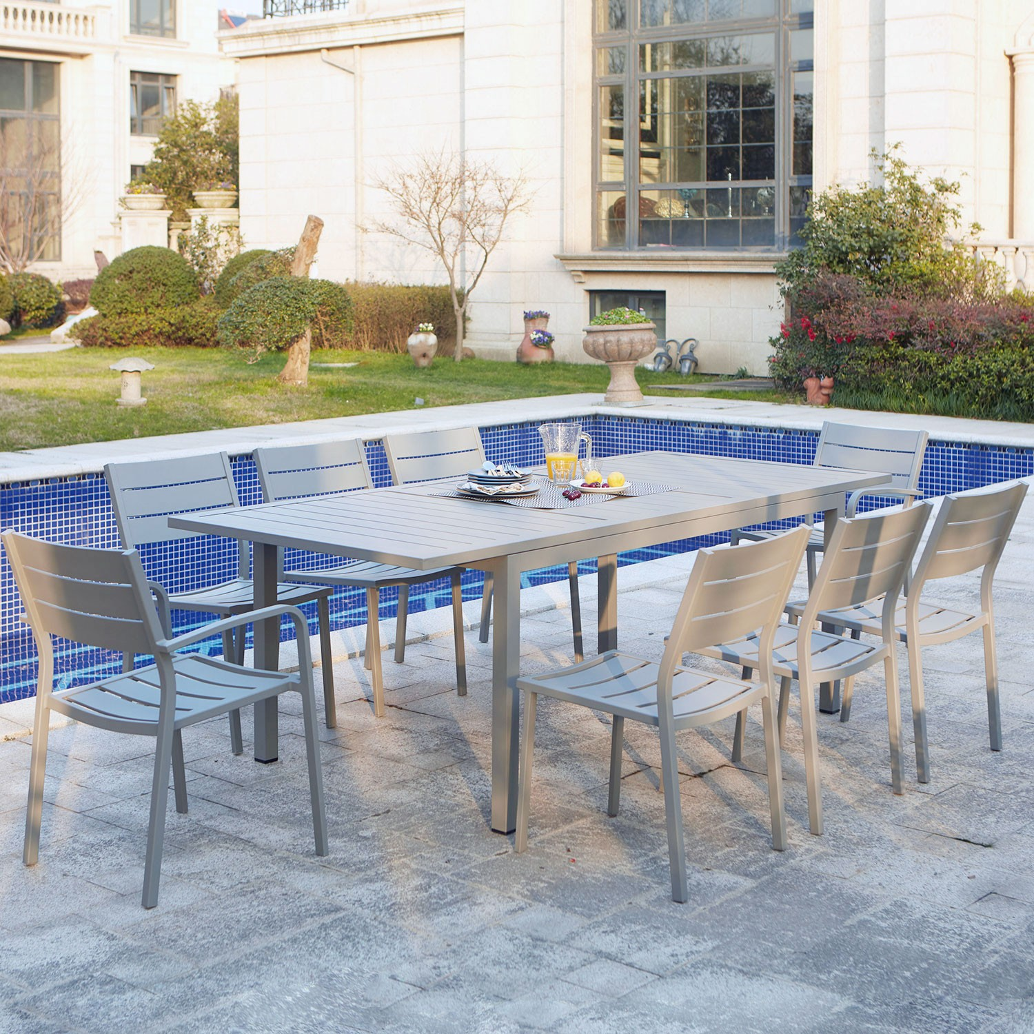 Salon De Jardin Composite Extensible Ragazza Table De Jardin Extensible En Aluminium 8 Places
