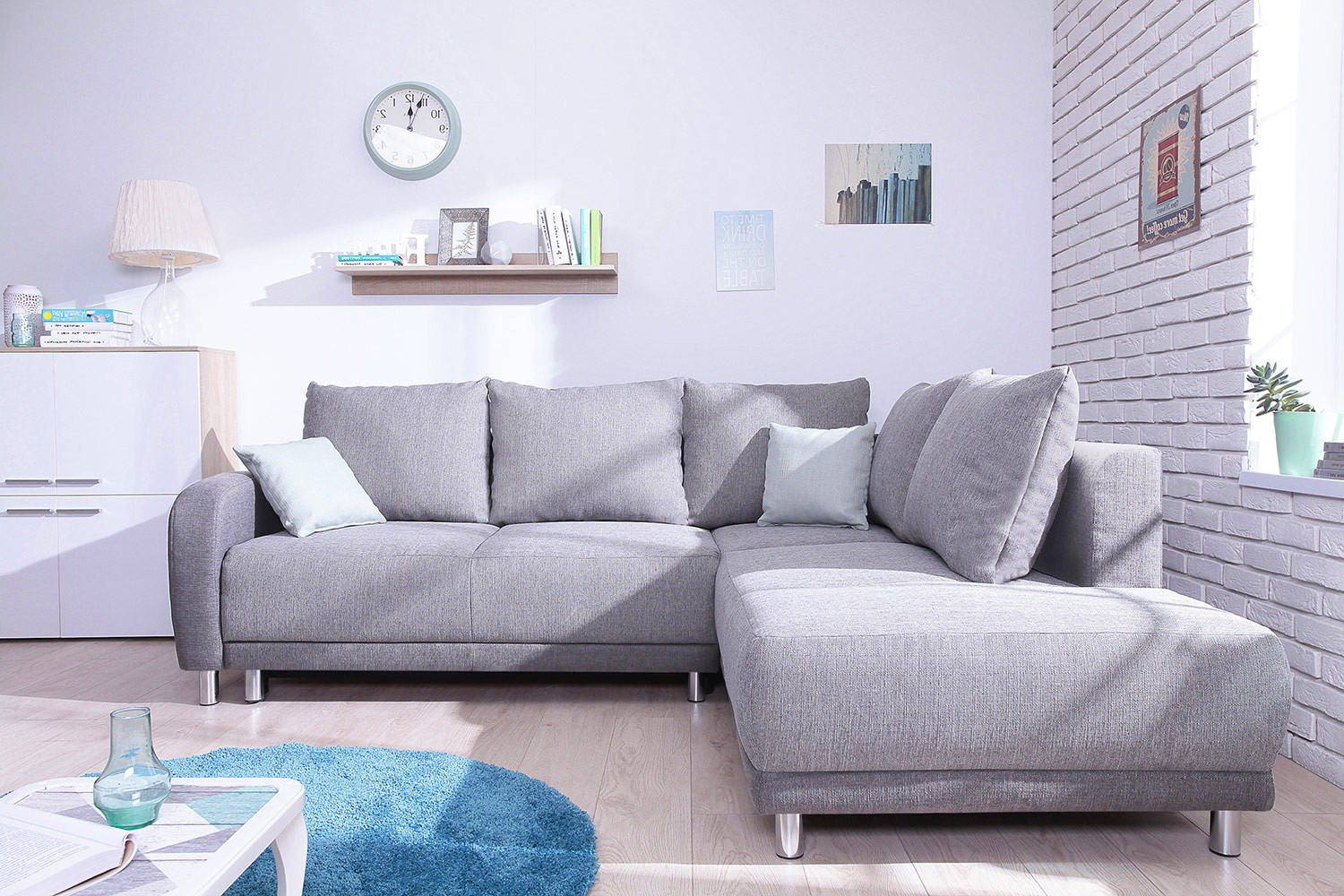 Canape Gris Angle Minty Grand Angle Droit Canapé Convertible Scandinave Bobochic Bicolore Gris Clair