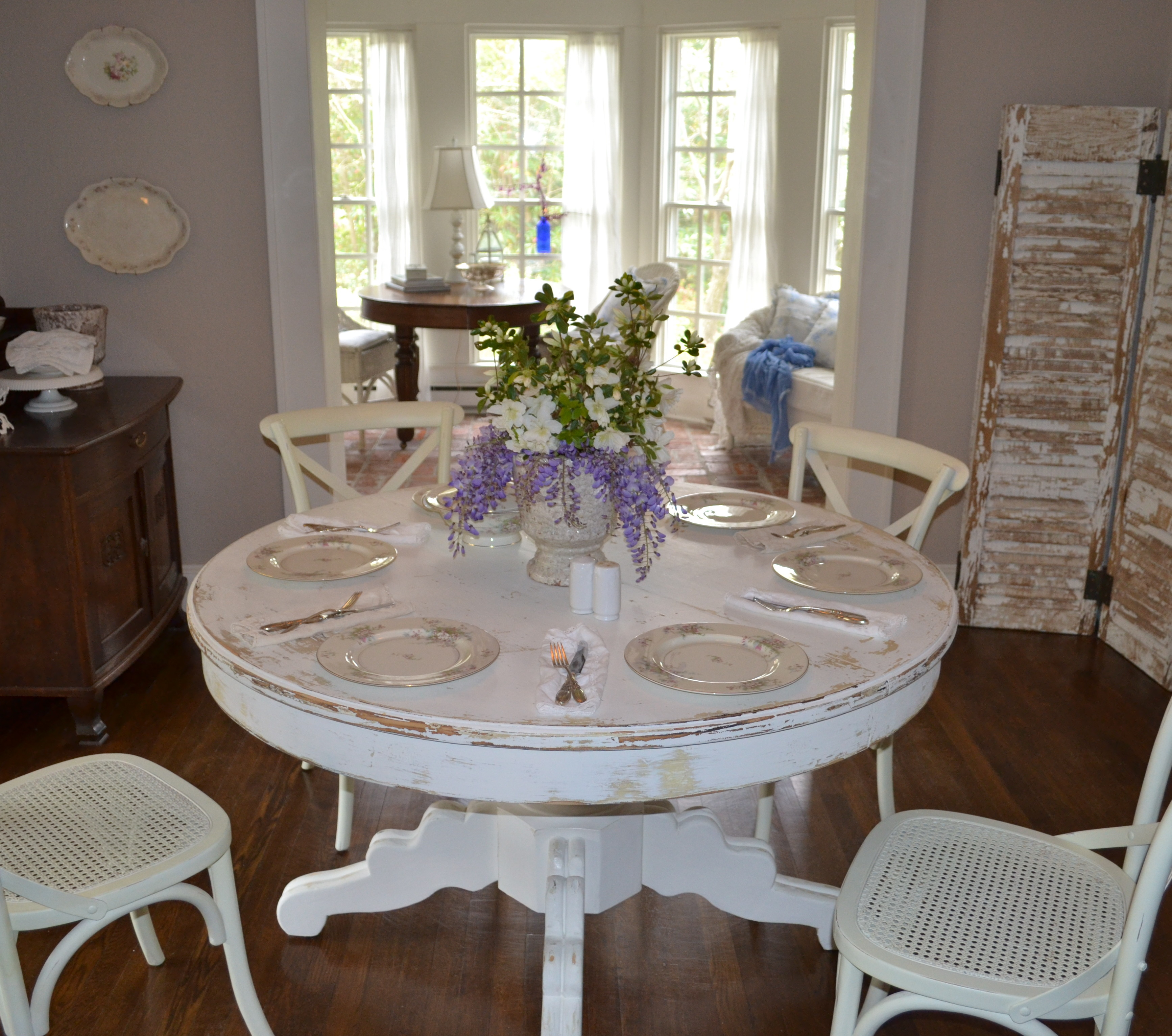 room by room tour white distressed kitchen table DSC