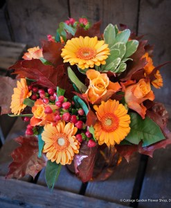 Autumn Rose & Germini Vase