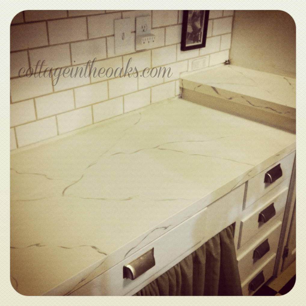 Painted Marble Countertops Diy Carrera Marble Painted Kitchen Counters Cottage In The Oaks