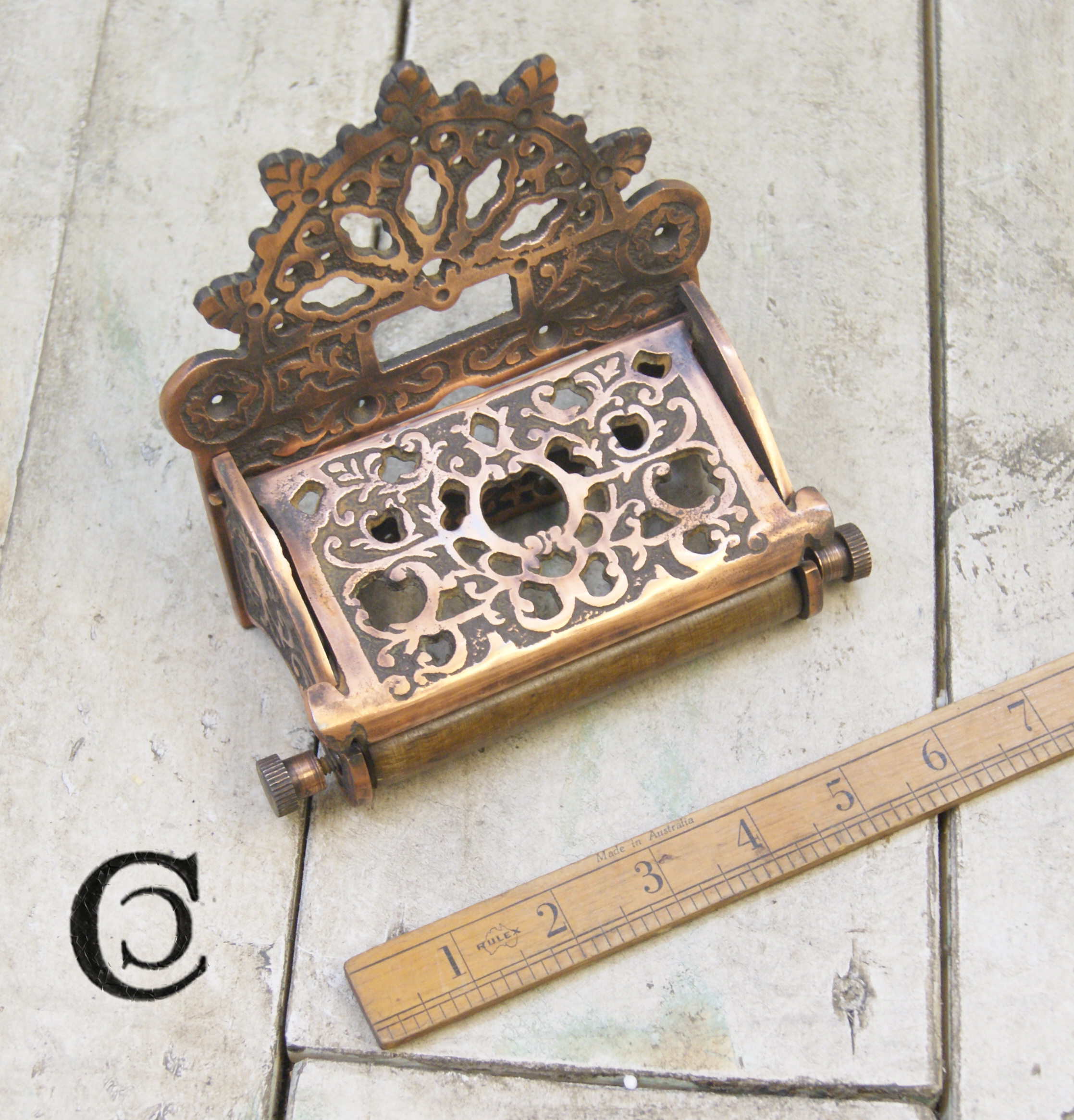 Antique Toilet Paper Dispenser Toilet Roll Holder Victorian With Lid Antique Copper