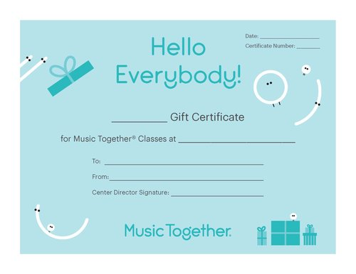 Cottontail Kids Music Together - Custom Gift Certificate
