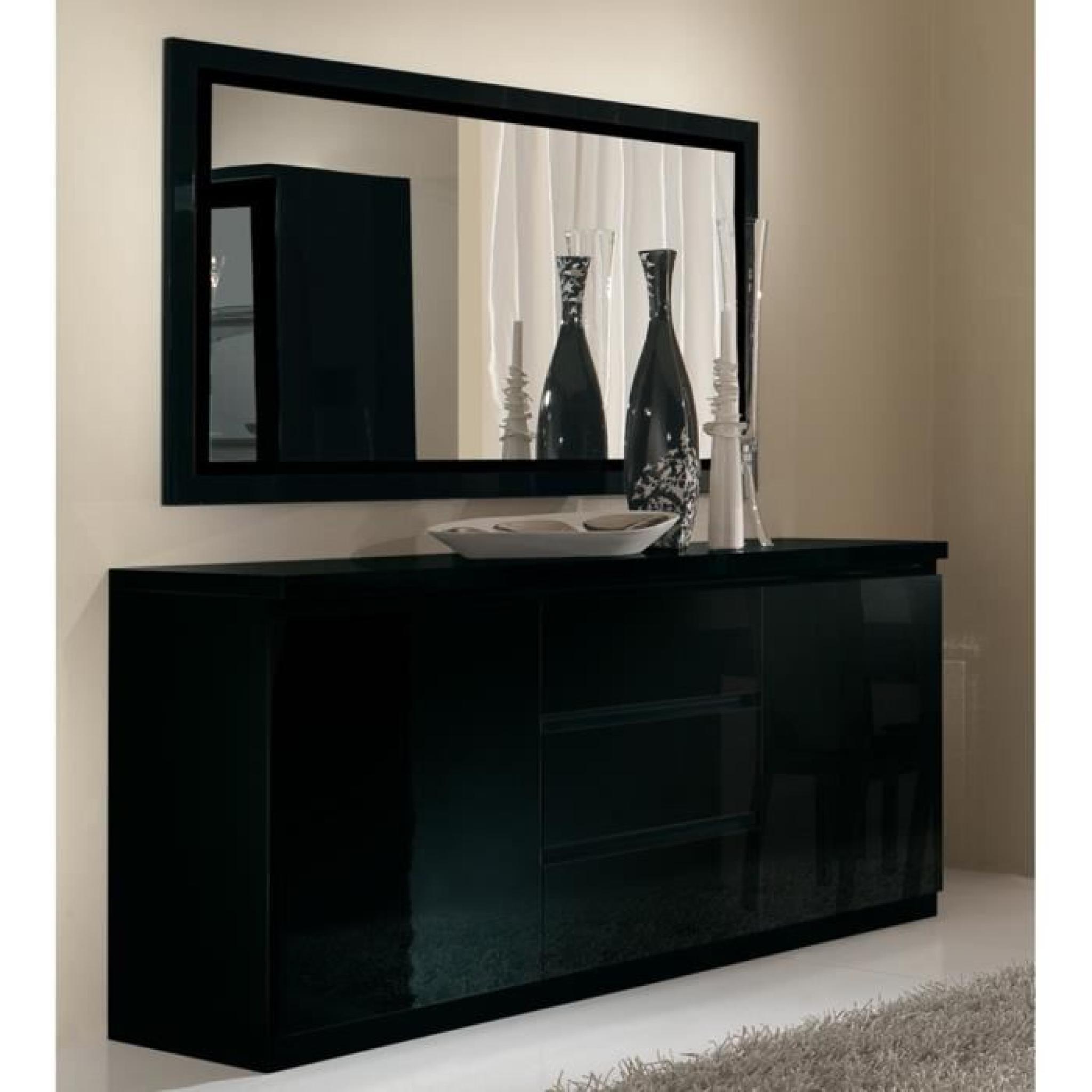 Captivant Bahut Design Noir Laqué à 2 Portes 3 Tiroirs