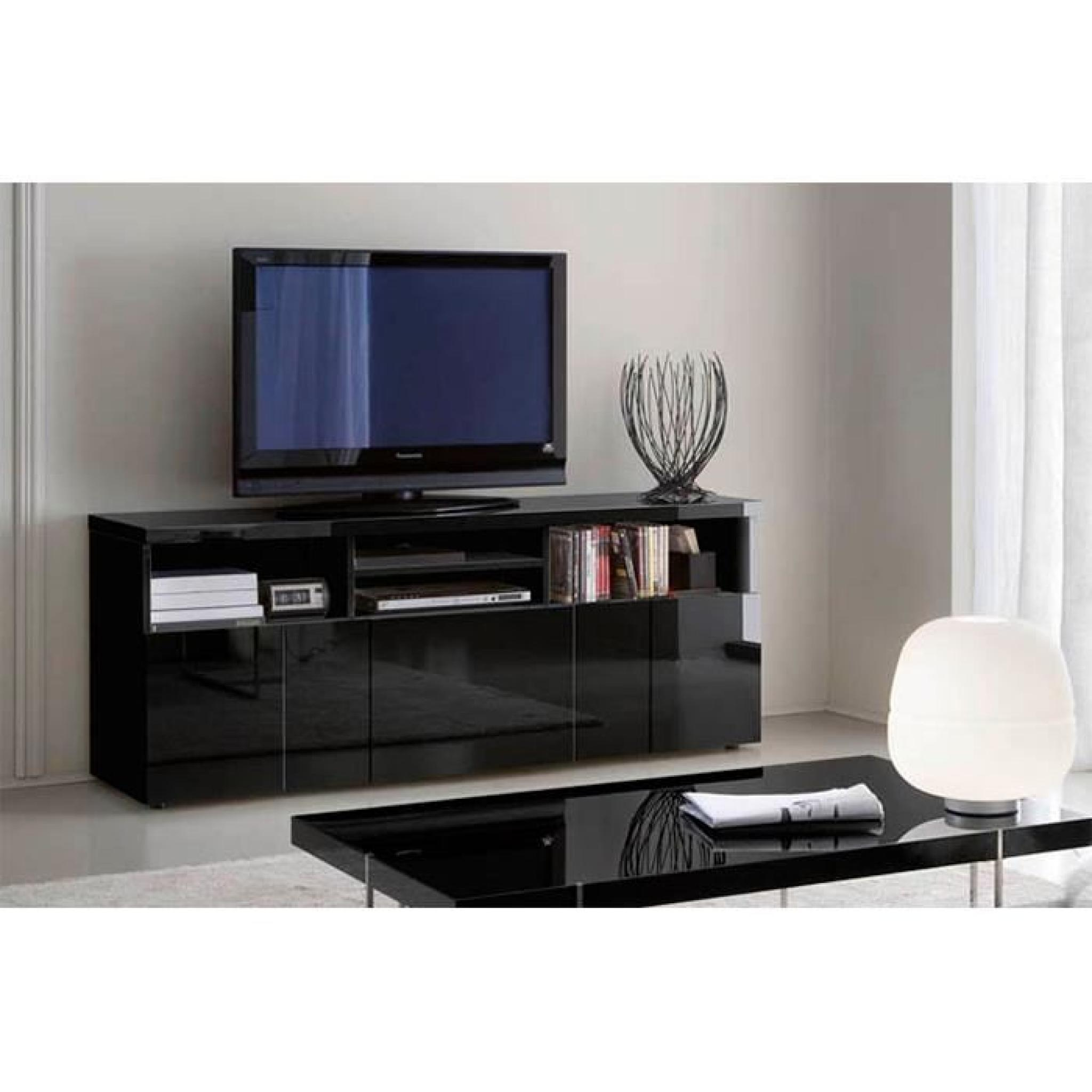 Meuble Tv Noir Buffet Meuble Tv Glossy Noir 3 Portes 4 Niches
