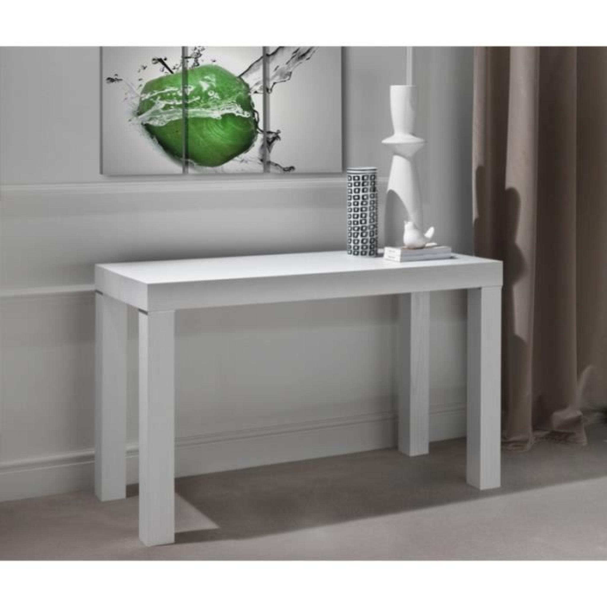 Meuble Transformable Console Murale Transformable En Table Blanc Laurine 3