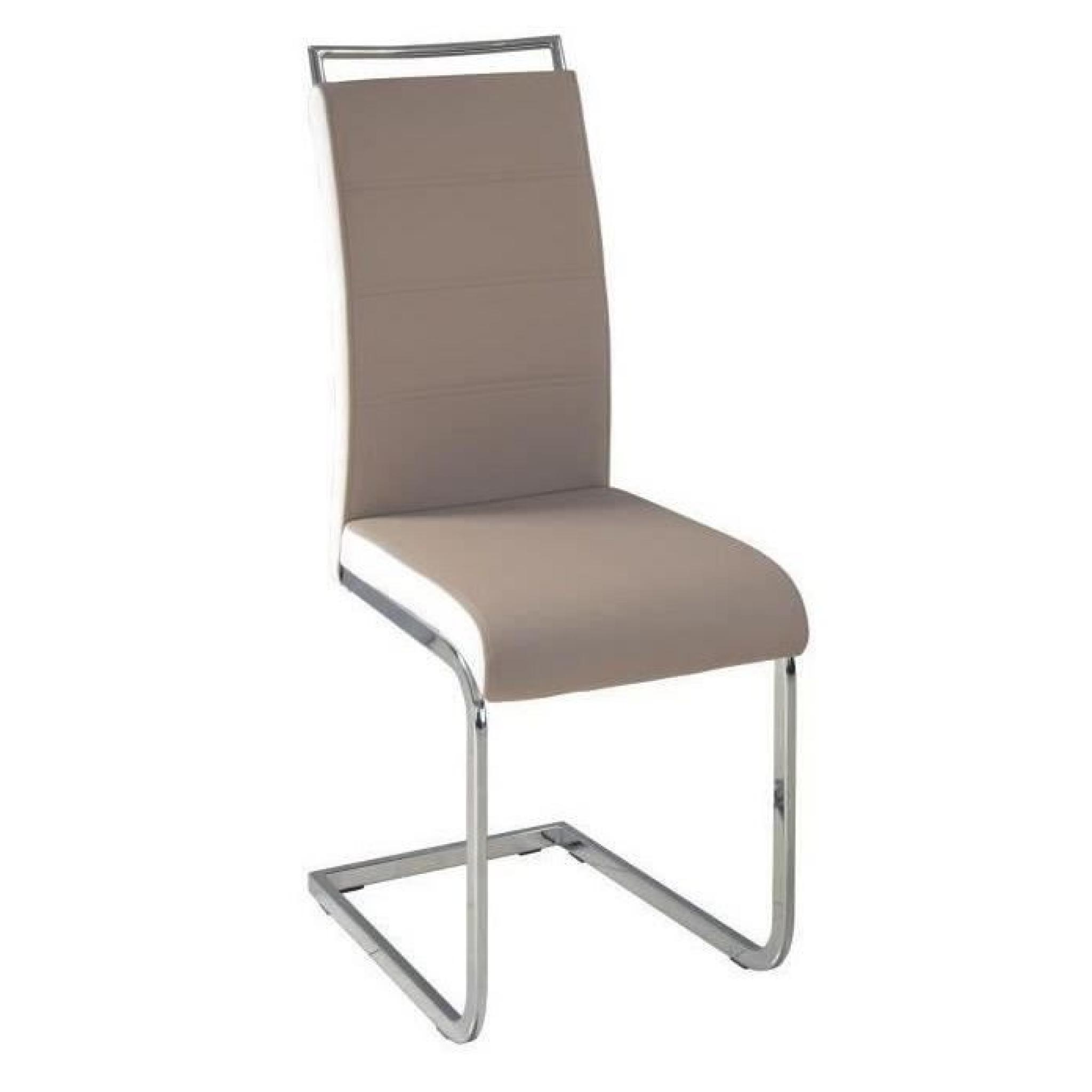 Chaise De Salon Blanche Dylan Lot De 6 Chaises Salon Taupe Blanc