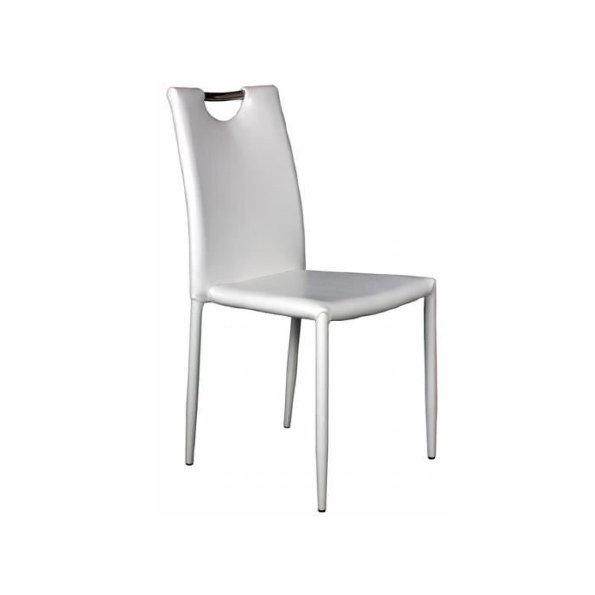 Chaise Blanche Pas Cher Kira Lot 4 Chaises Blanches