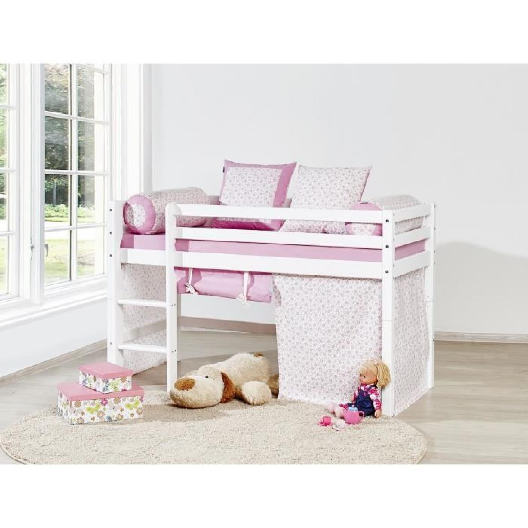 Lit Superpose Blanc Loop Princesse Lit Superposé Enfant 70x160cm Blanc