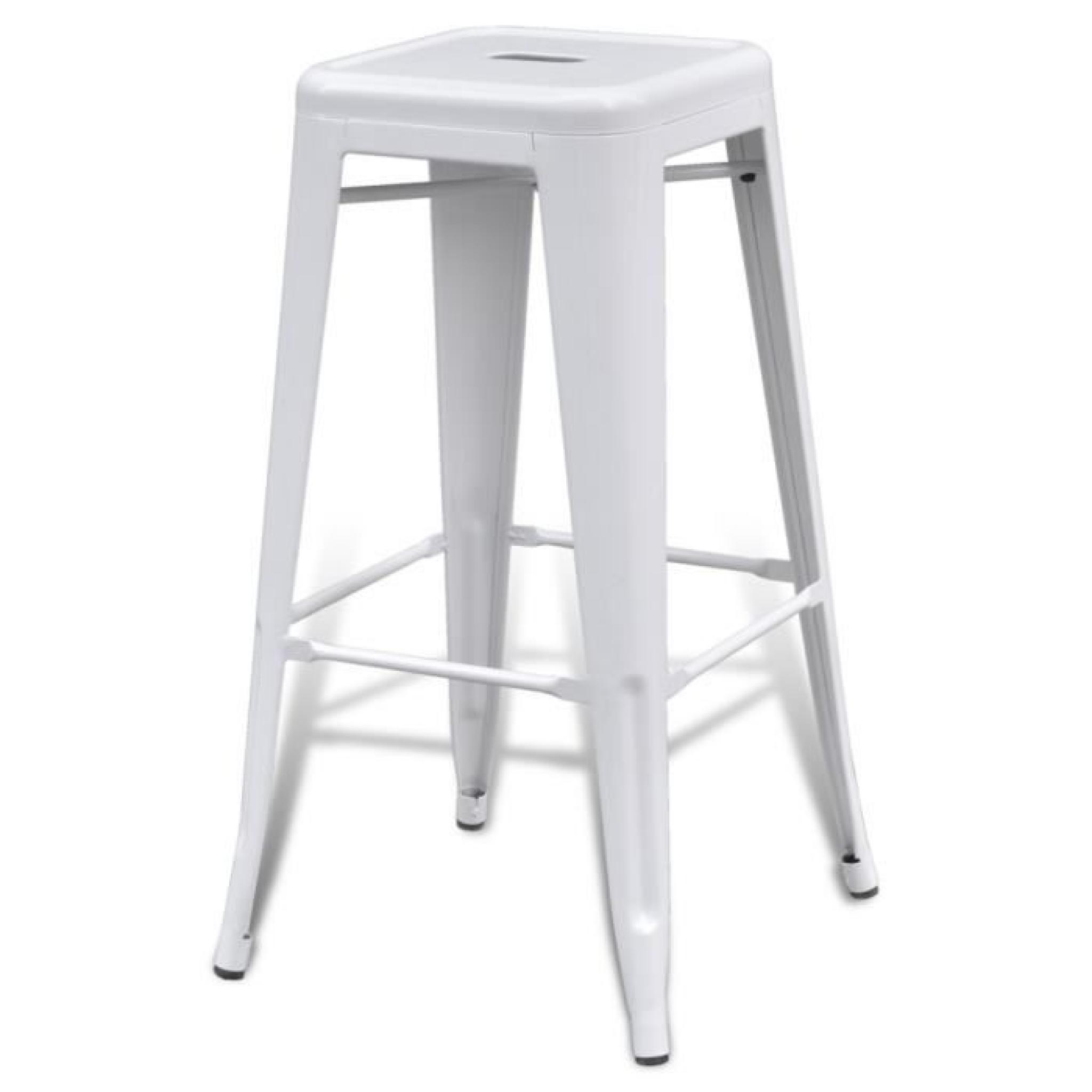 Songmics Lot De 2 Tabourets De Bar Stool Lot De 2 De Tabourets De Bar Hauts Blancs 4 Pieds Achat