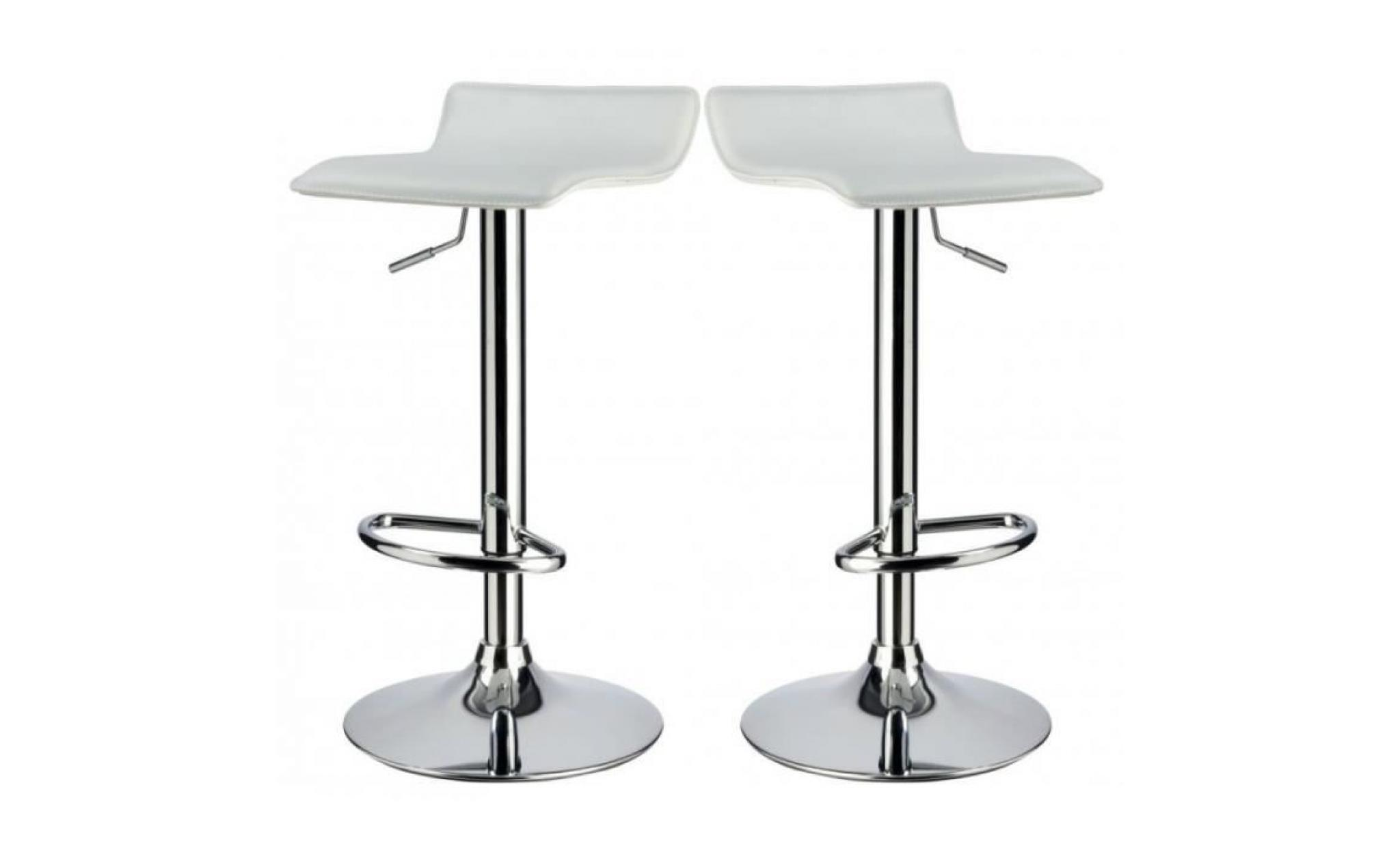 Lot De 2 Tabourets De Bar Blanc Lot De 2 Tabourets De Bar Cuir Synthétique Blanc Hauteur Réglable Tdb09006