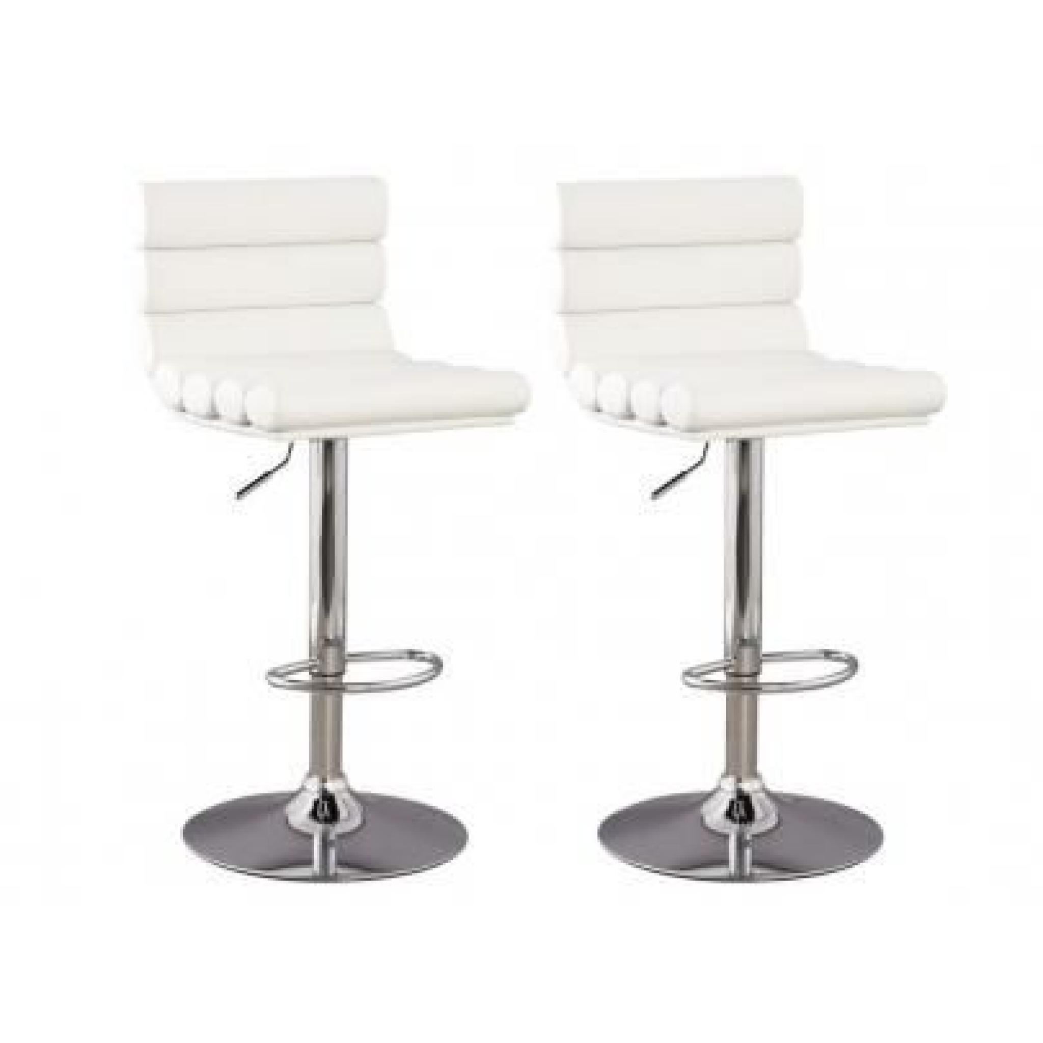 Lot De 2 Tabourets De Bar Blanc Lot De 2 Tabourets De Bar Lewiston Pu Blanc