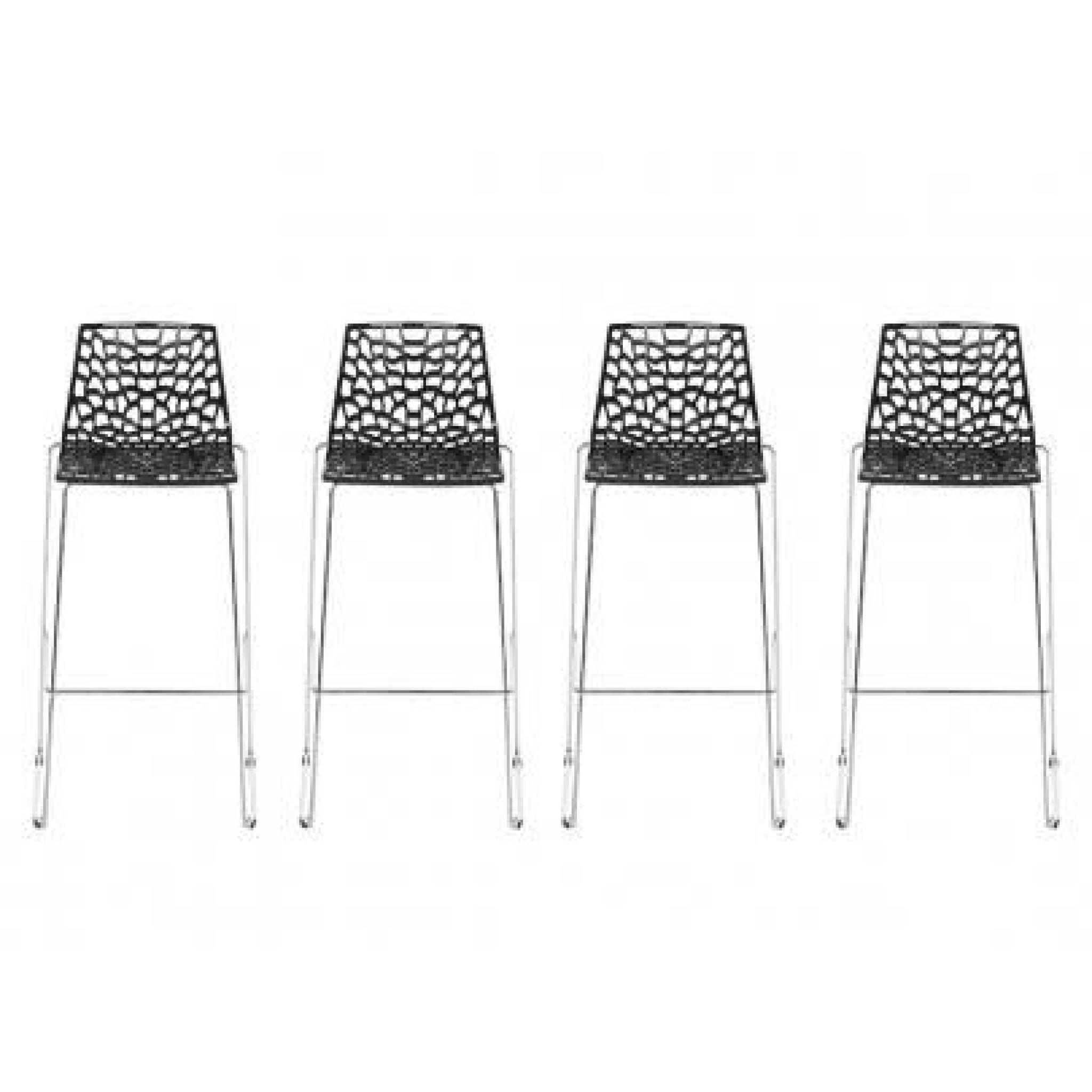 Tabourets De Bar Vente Unique Lot De 4 Tabourets De Bar Wilton 4 Pieds Polypropylène Noir Graphite