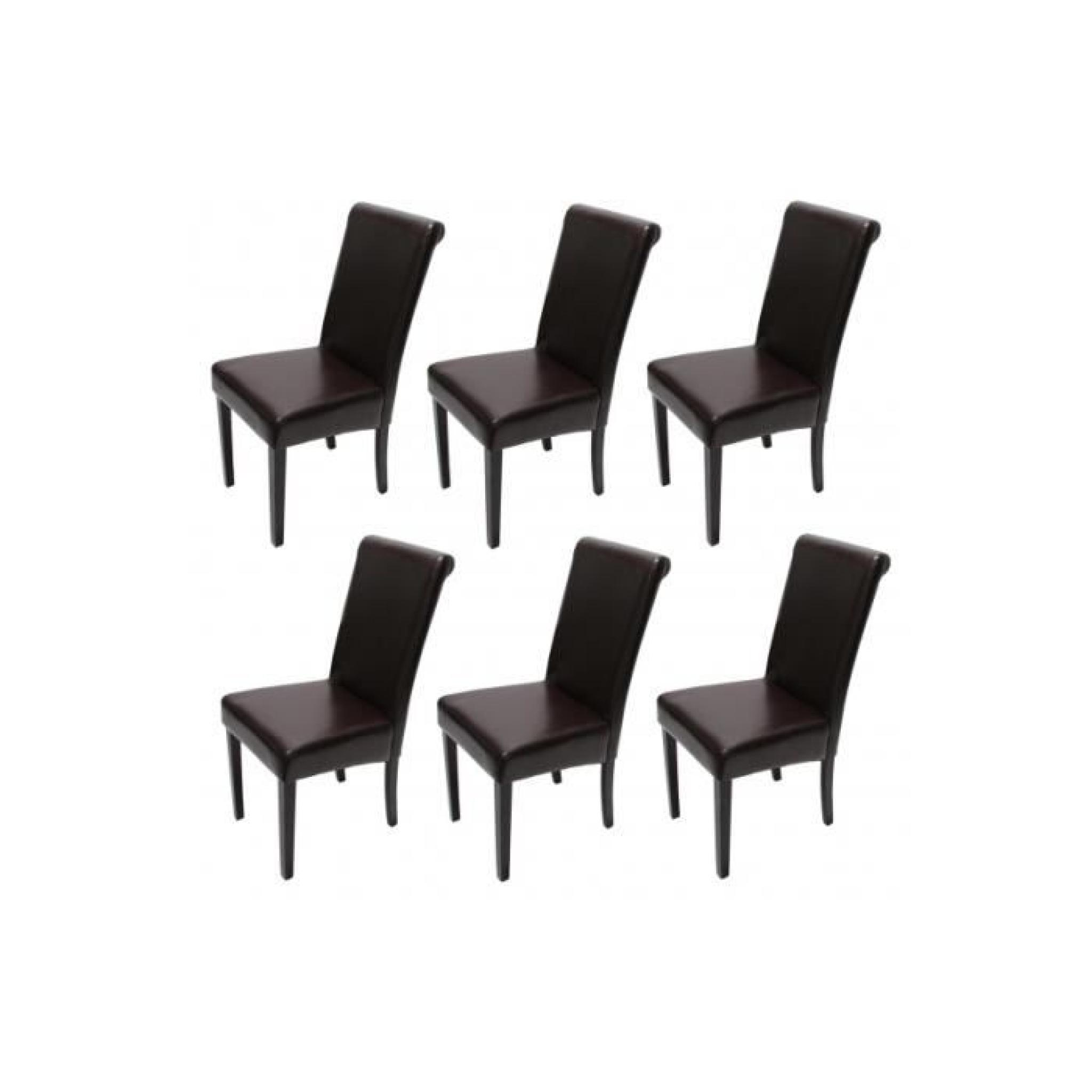 Lot De 6 Chaises Marron Lot De 6 Chaises Salel A Manger Cuir Marron