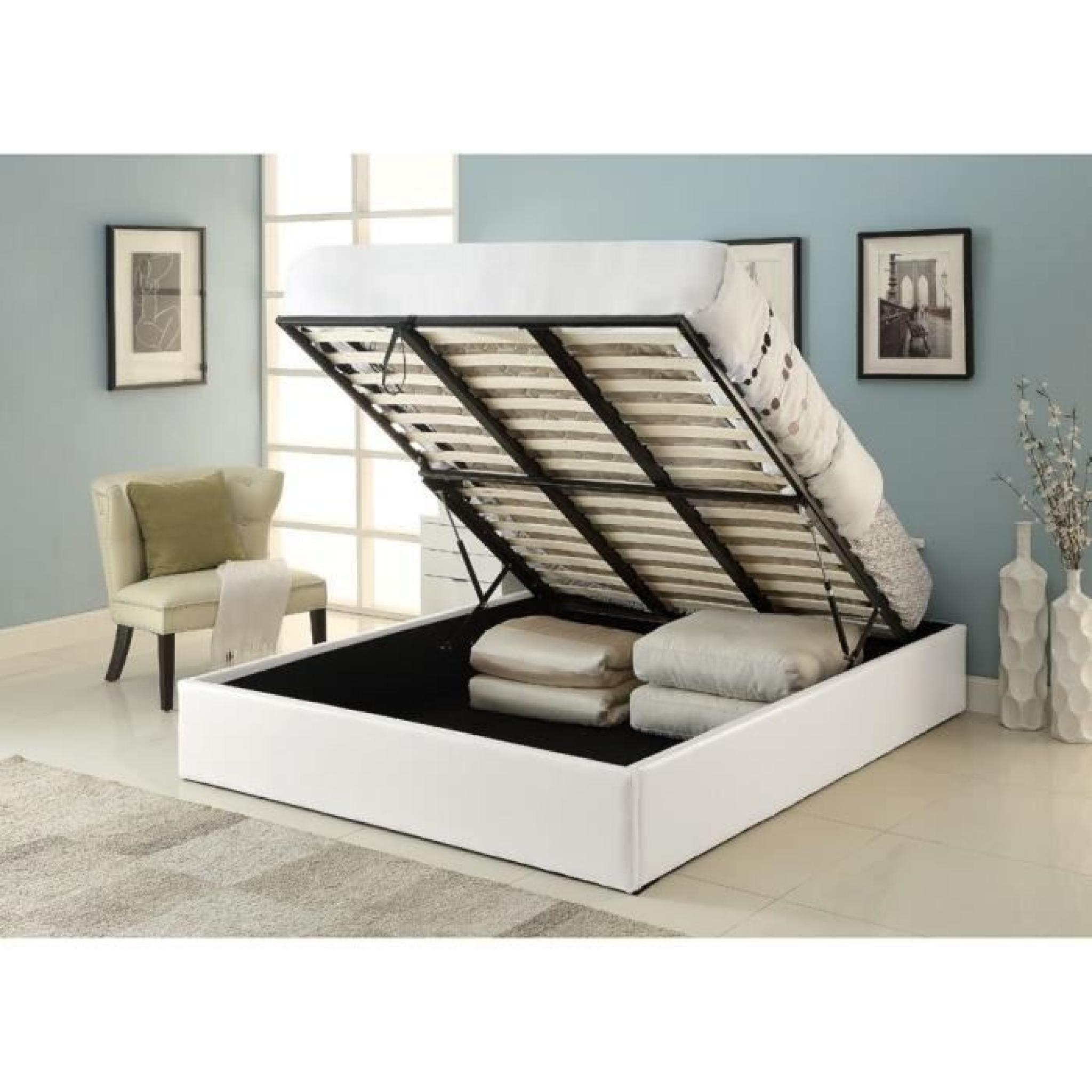 Lit Adulte Coffre Majesty Lit Coffre Adulte 140x190 Sommier Blanc