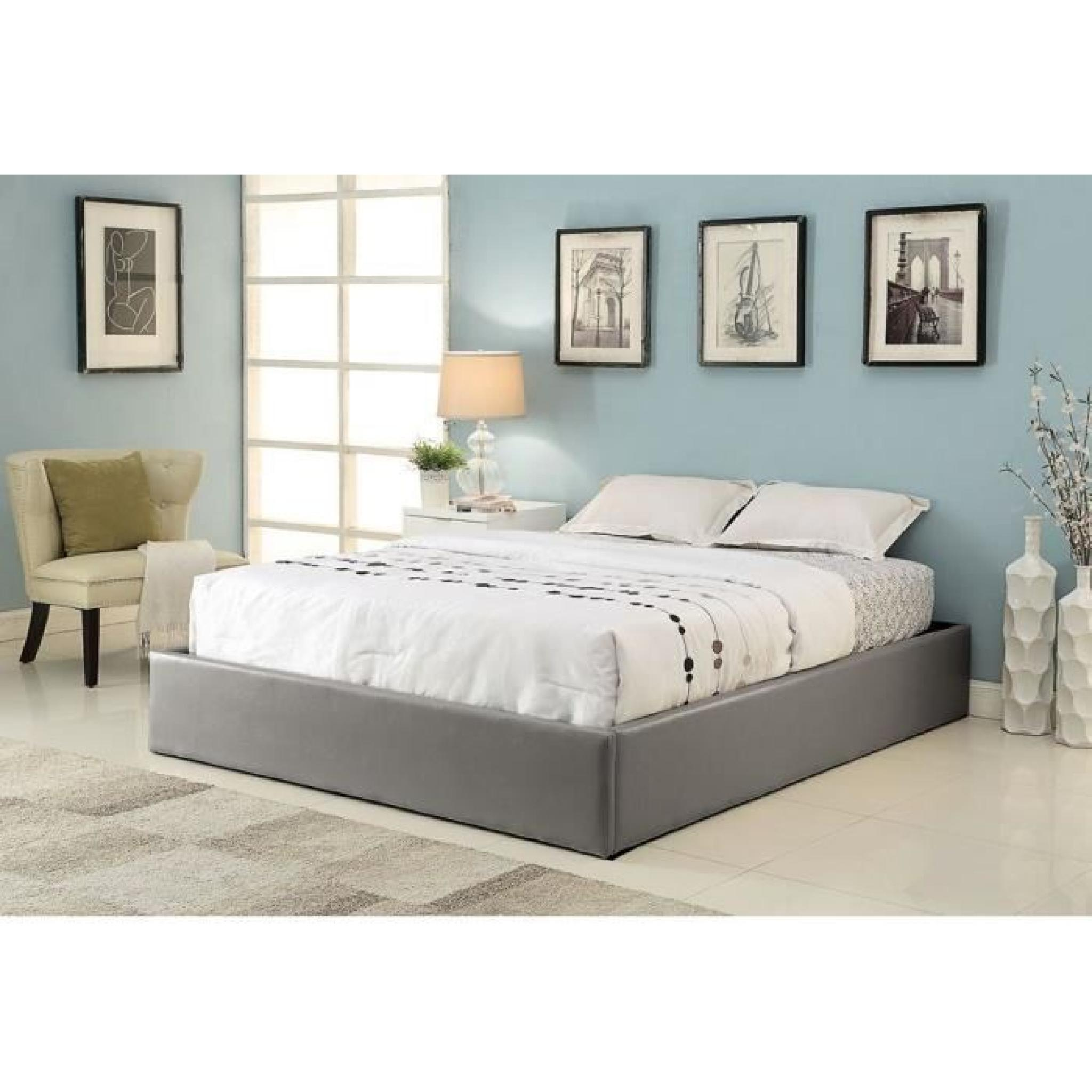 Lit Adulte Coffre Majesty Lit Coffre Adulte 140x190 Sommier Gris