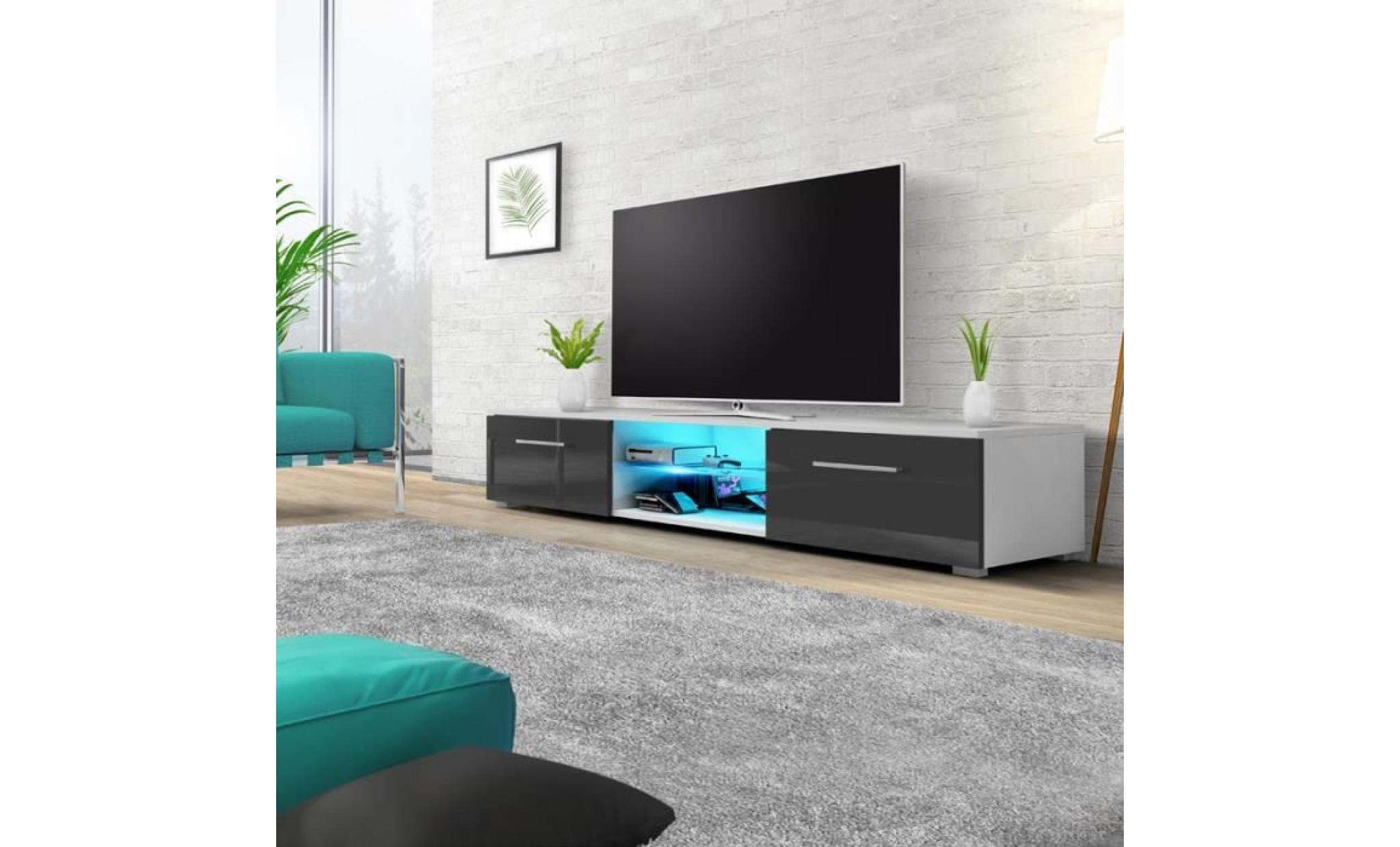 Meuble Salon Tv Meuble Tv Meuble Salon Edith 140 Cm Blanc Mat Gris Brillant Avec Led Bleue Style Minimaliste Style Moderne