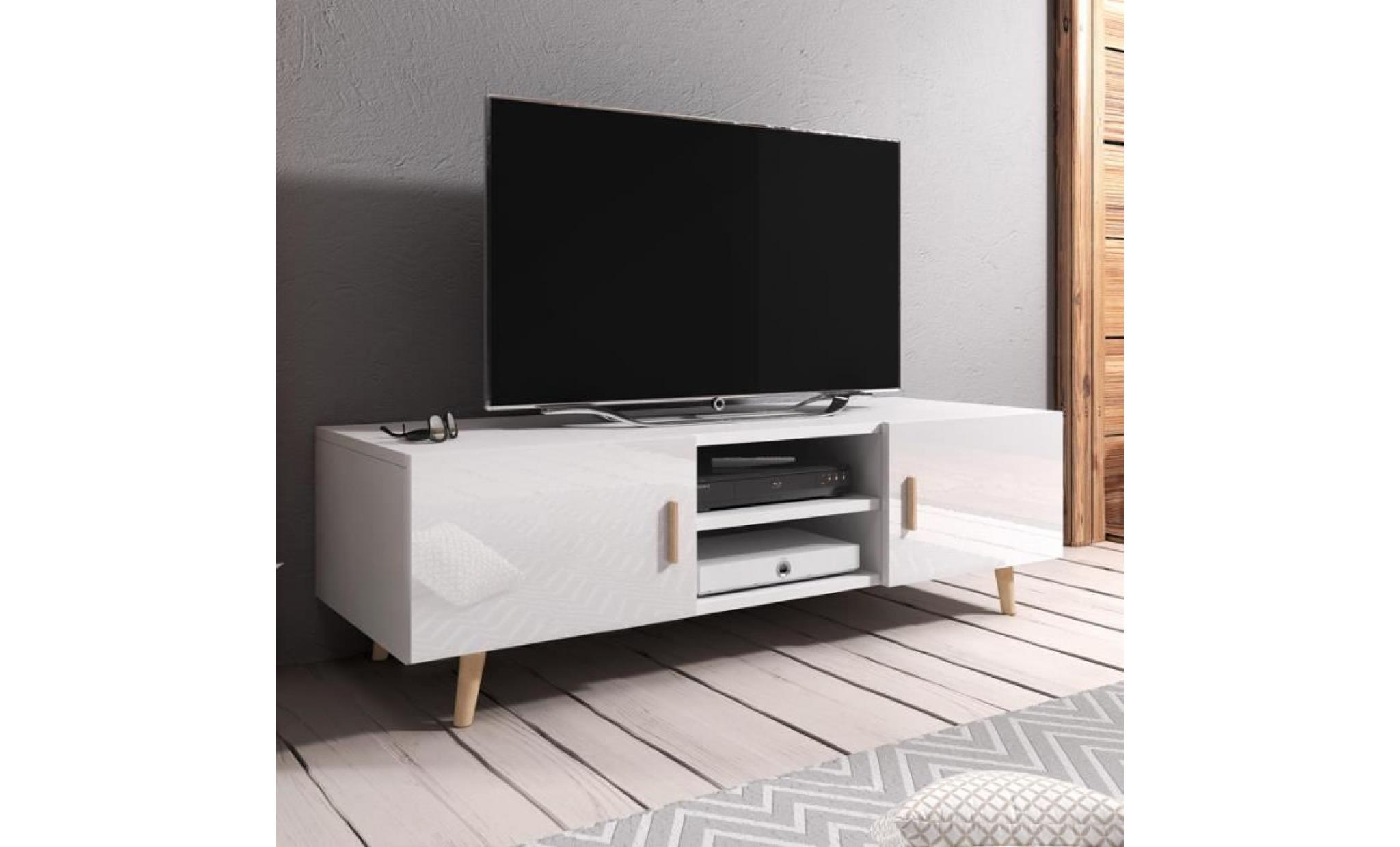 Meuble Tv 140 Cm Blanc Meuble Tv Meuble De Salon Rivano Ii 140 Cm Blanc Mat Blanc Brillant Style Scandinave Style Minimaliste