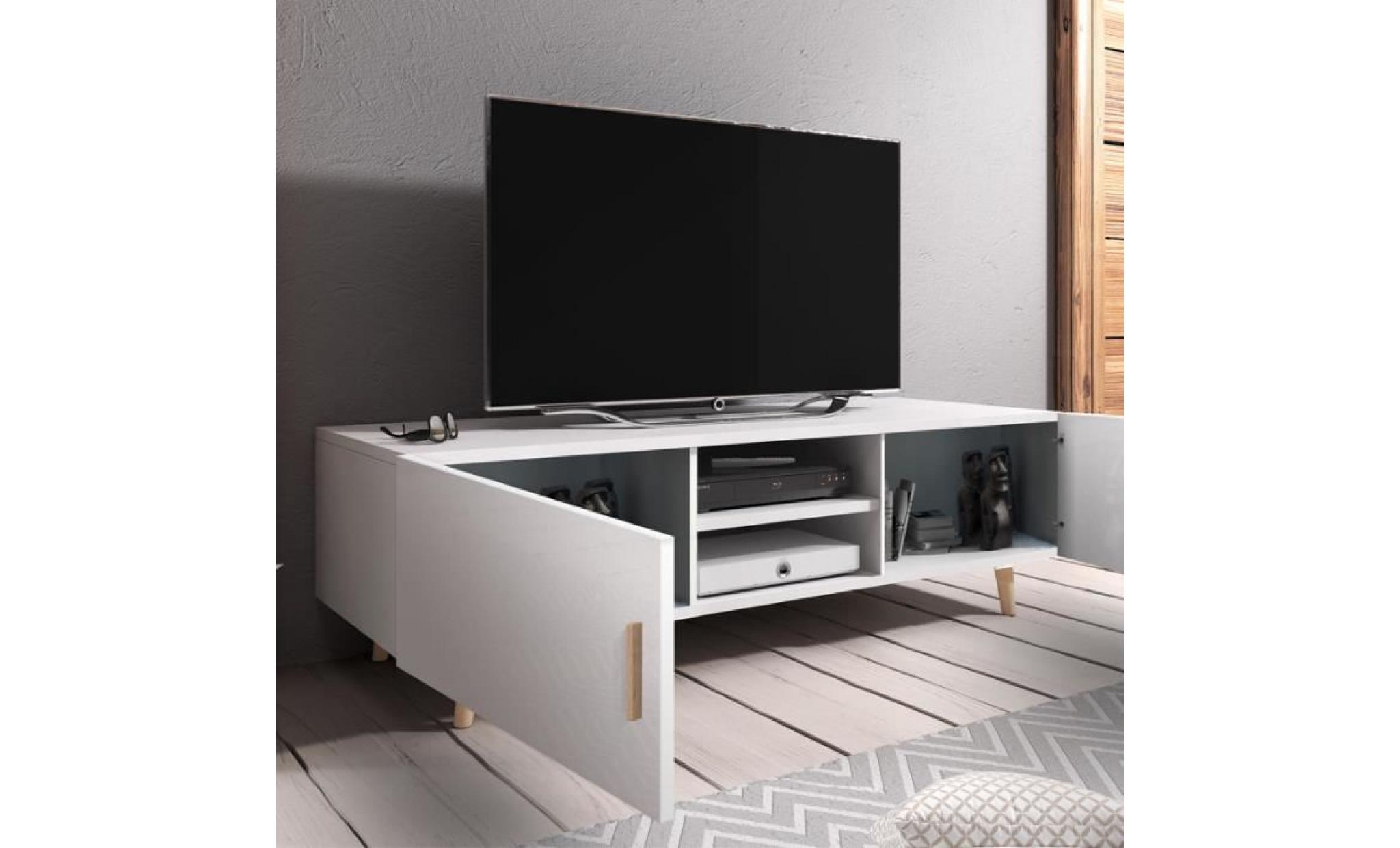 Meuble Tv Minimaliste Meuble Tv Meuble De Salon Rivano Ii 140 Cm Blanc Mat Blanc Brillant Style Scandinave Style Minimaliste