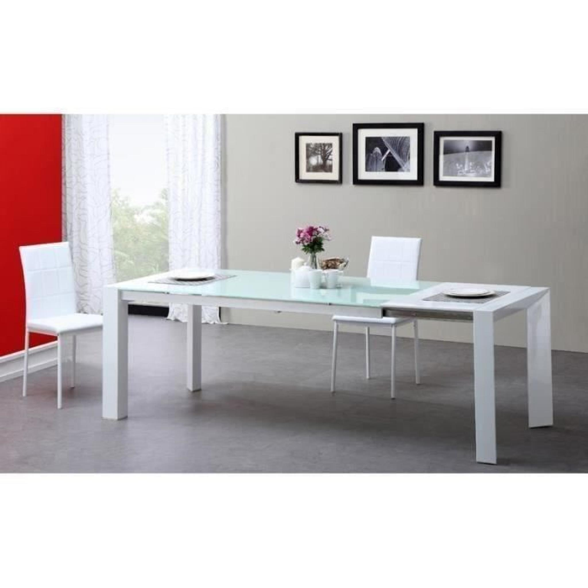 Table Sejour Verre Milano Table Extensible 180 à 230cm Verre Blanc
