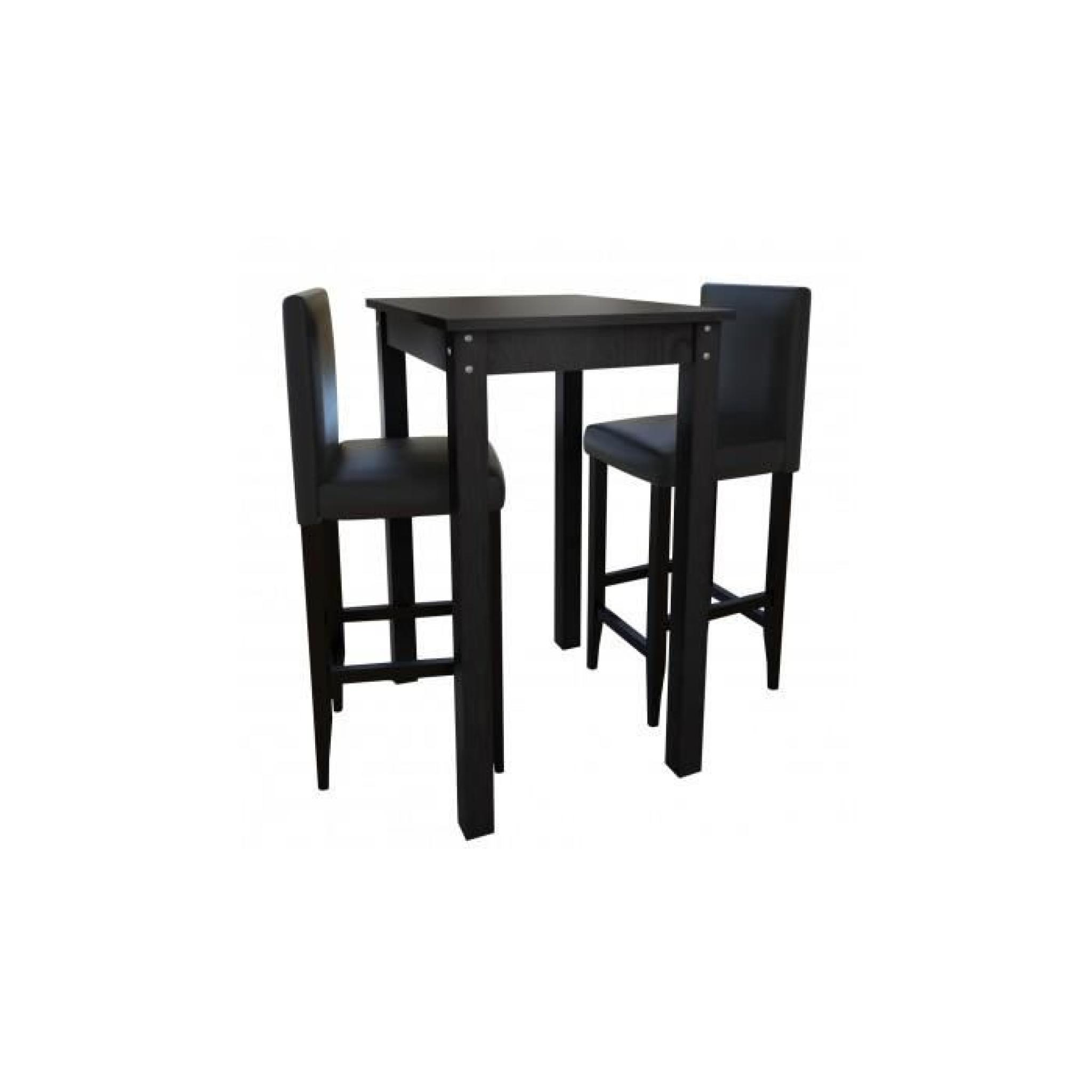 Set De 1 Table Bar Et 4 Tabourets Noir Set De 1 Table Et 2 Tabourets Noir Achat Vente Table