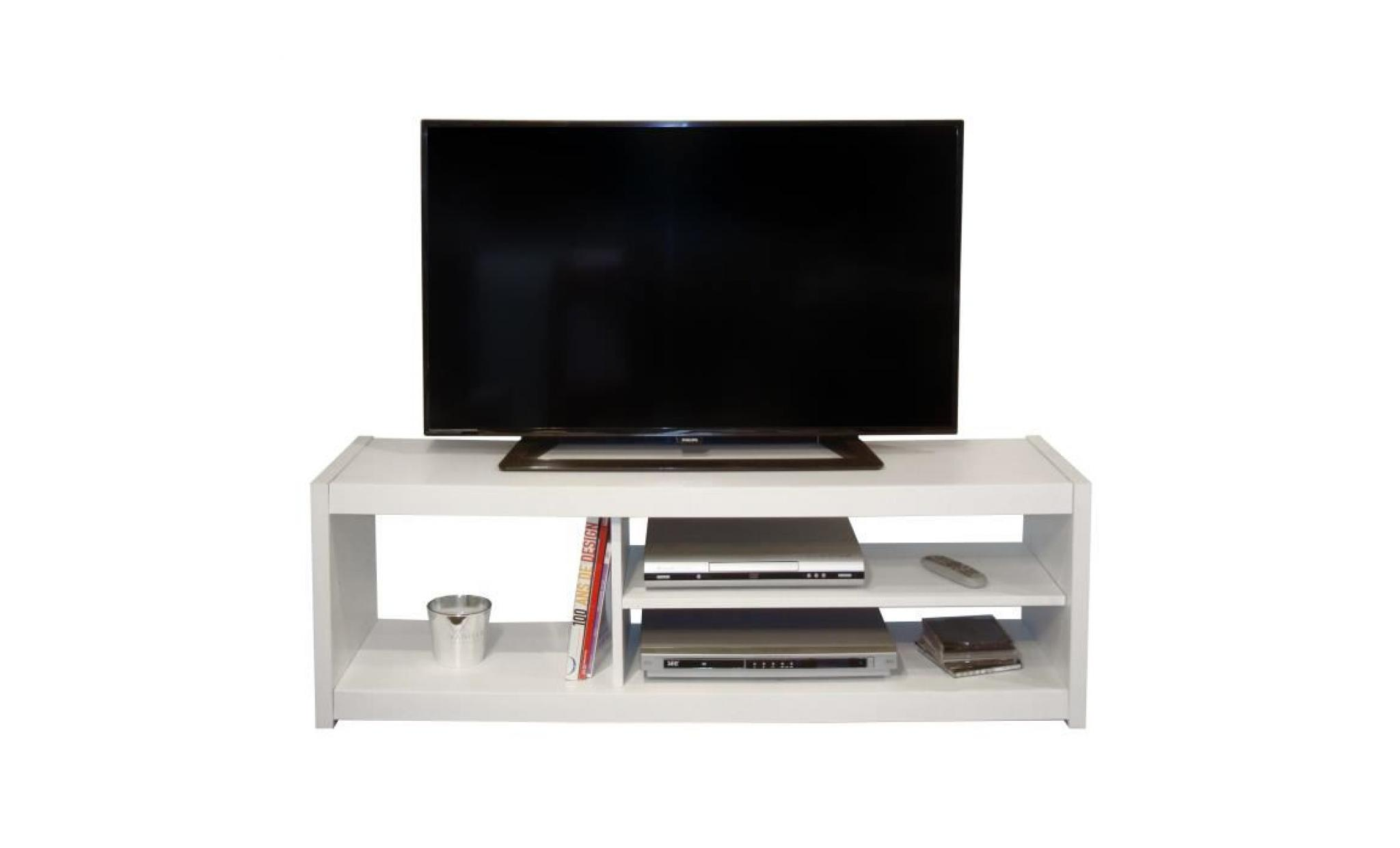 Meuble Tv Largeur 60 Cm Slone Meuble Tv Contemporain Blanc L 125 Cm
