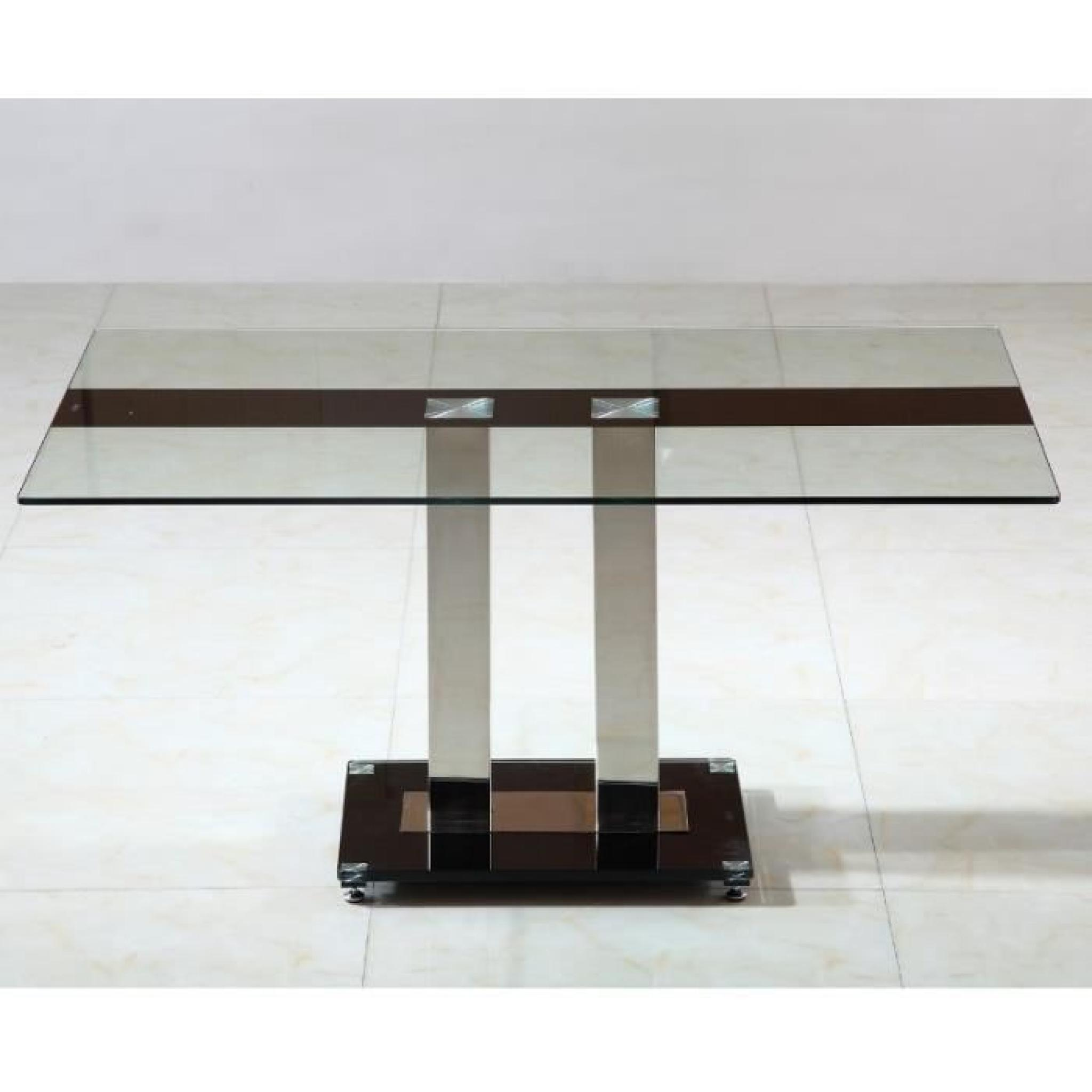Table Verre Pas Cher Table En Verre Pied Central Sirna Achat Vente Table