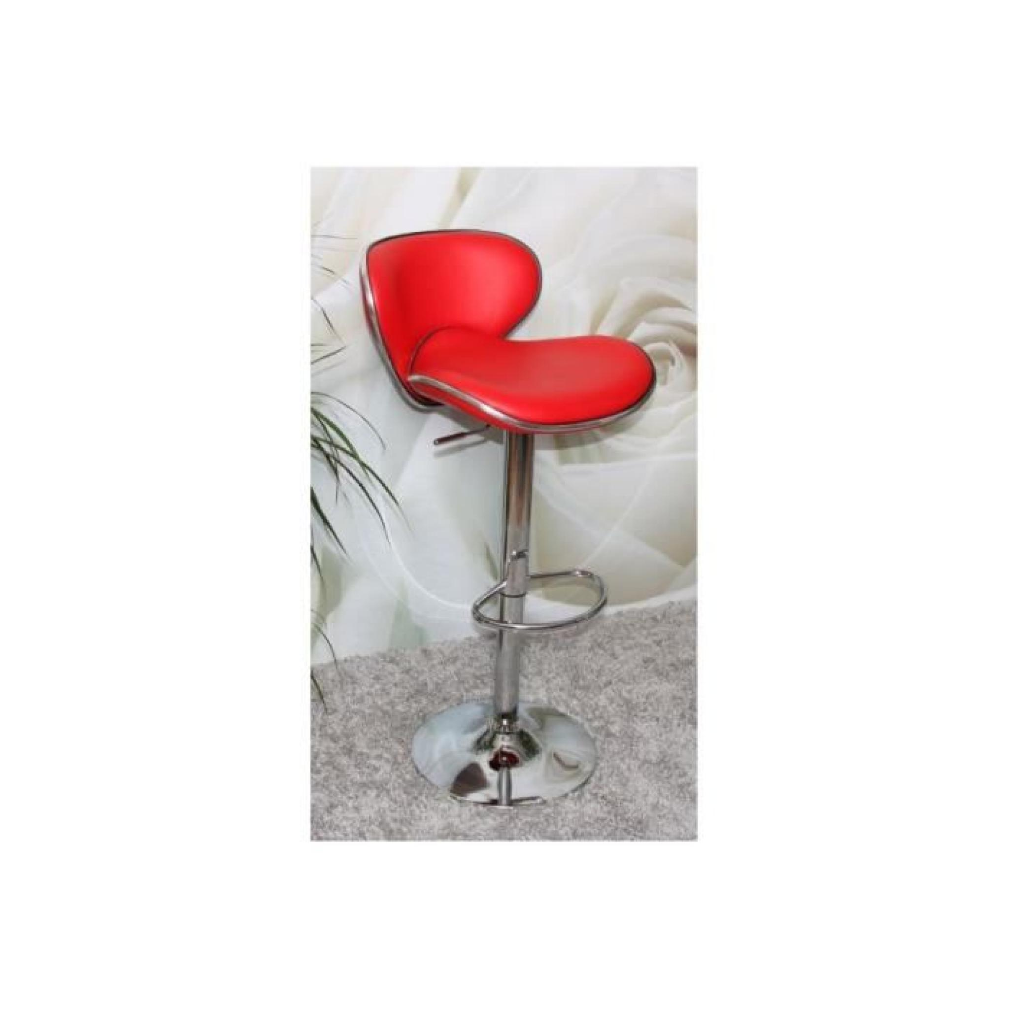 Tabourets De Bar New Cab Tabouret De Bar Chrome Simili Cuir Rouge