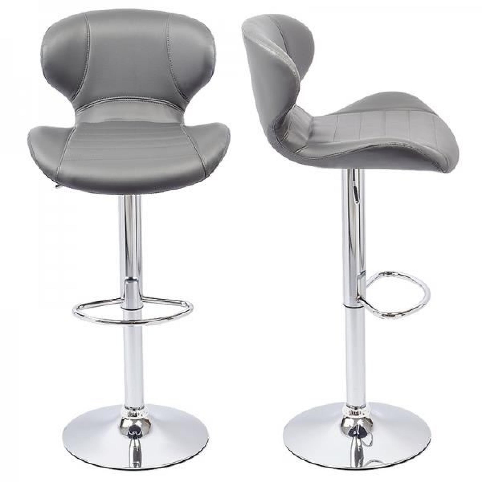 Tabouret De Bar Gris Lot De 2 Lead Achat Vente Tabouret - York Lot De 2 Tabourets De Bar Noir