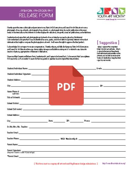 4 \u2013 Student Information \u2013 Artwork Photography Release Form 2016 pdf