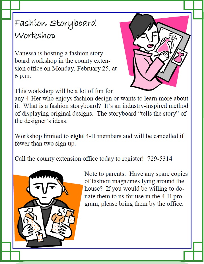 Fashion Storyboard Workshop Limestone - what is storyboard