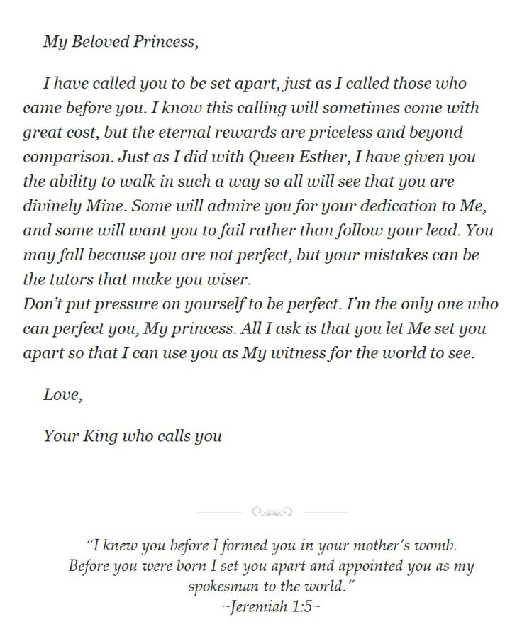 Set Apart~ From His Princess Love Letters From Your King - encouragement letter template